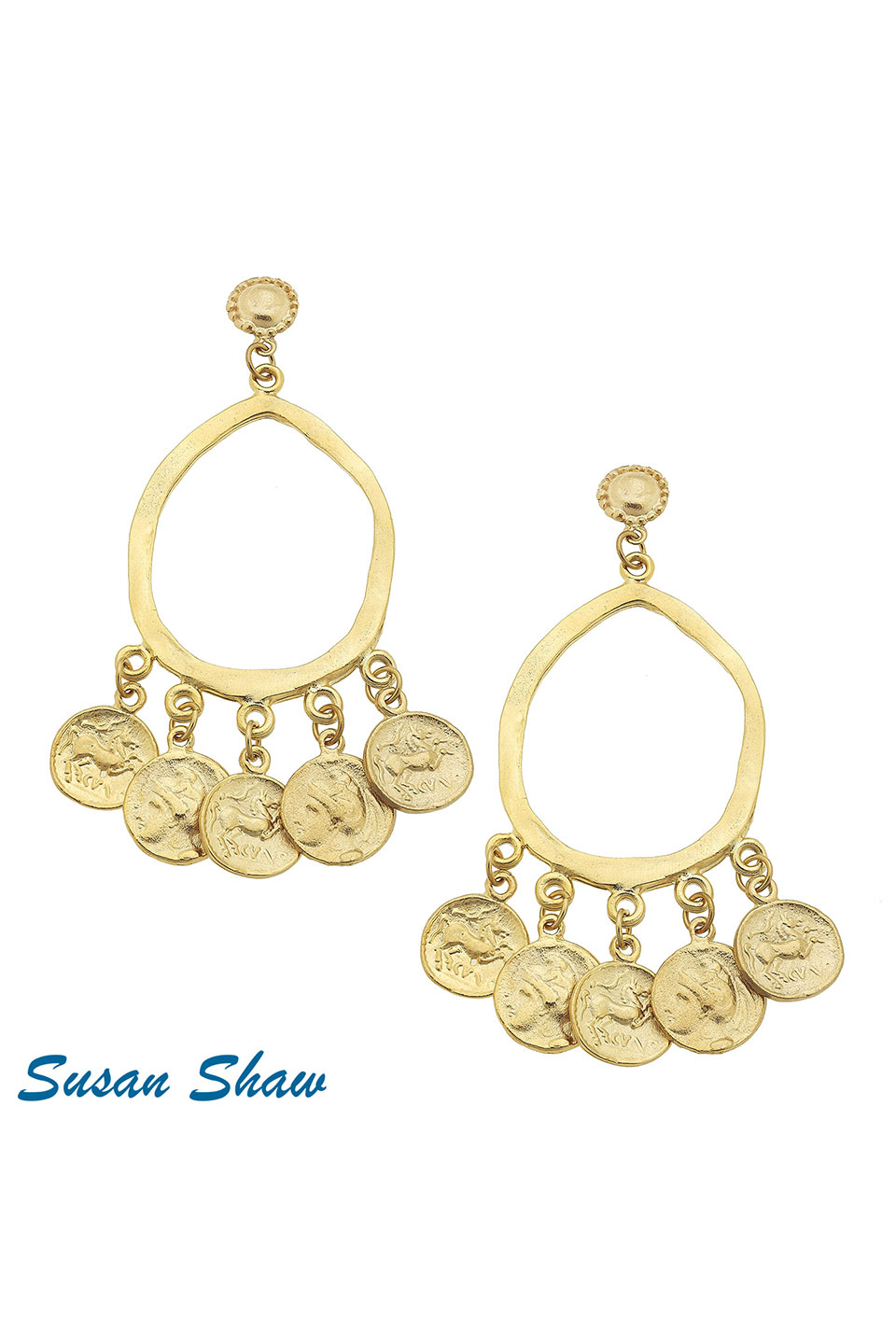 Susan Shaw Gold Open Oval & Coin Earrings