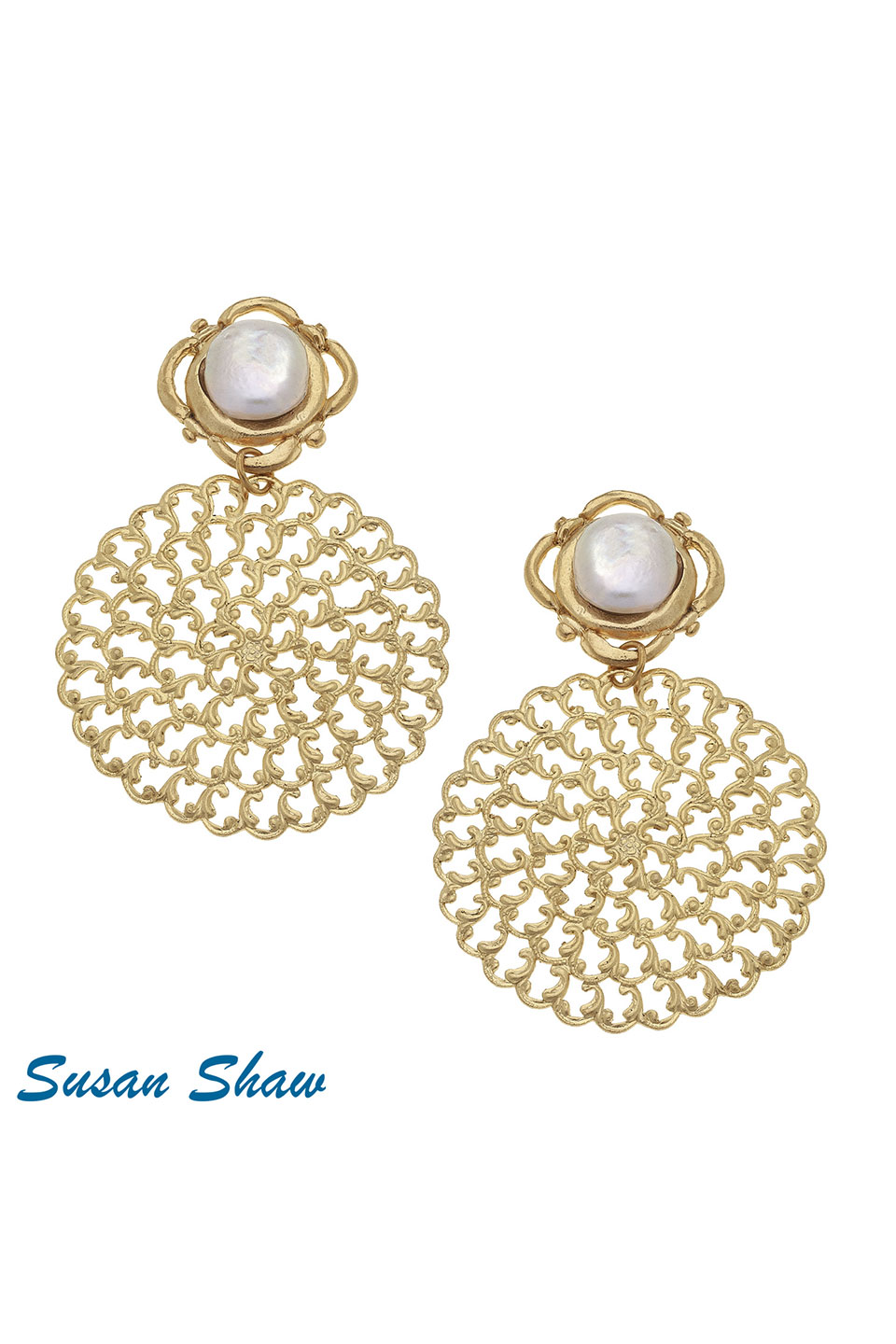 Susan Shaw Handcast Gold Filigree with White Pearl Earrings