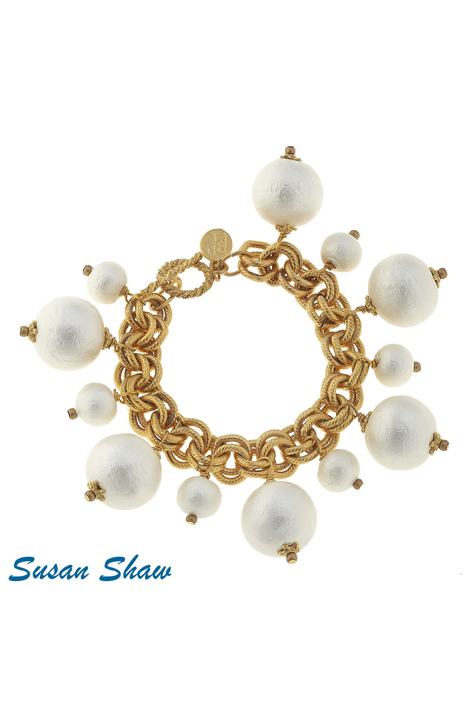 Susan Shaw Gold with Multi-cotton Pearls Bracelet