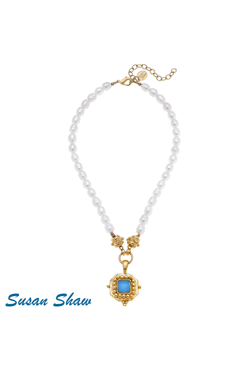 Susan Shaw Handcast Gold Square With Aqua French Glass On Genuine Pearl Necklace