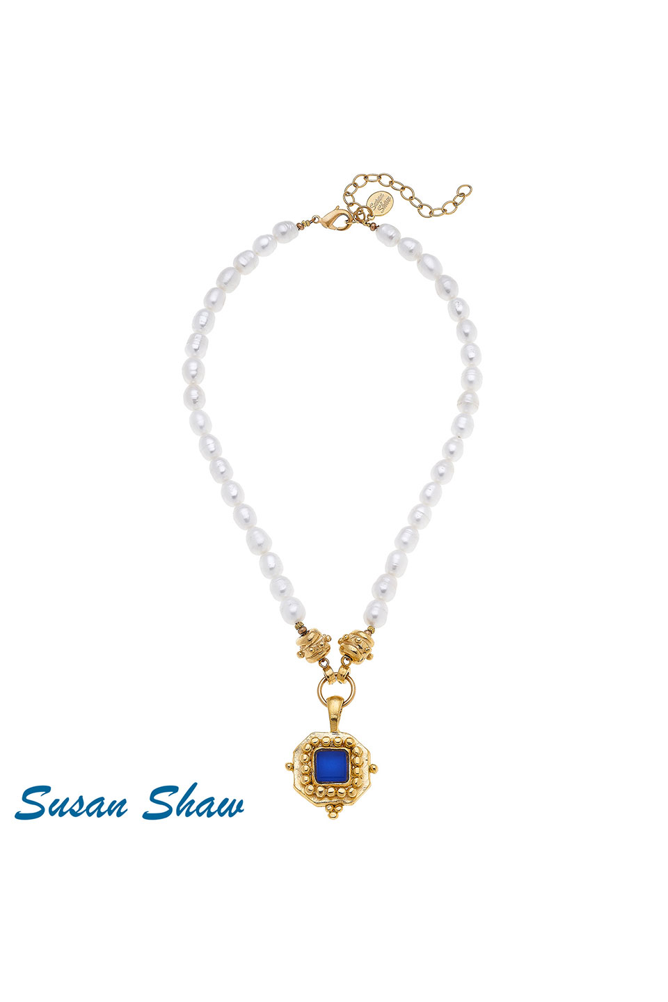 Susan Shaw Handcast Gold Square witlh Blue French Glass on Genuine Pearl Necklace