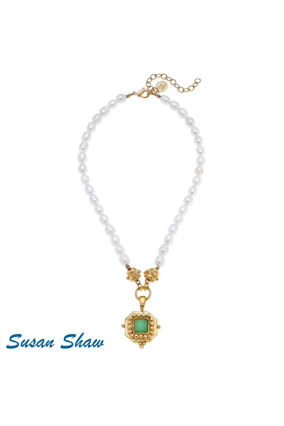 Susan Shaw Handcast Gold Square with Green French Glass on Genuine Pearl Necklace