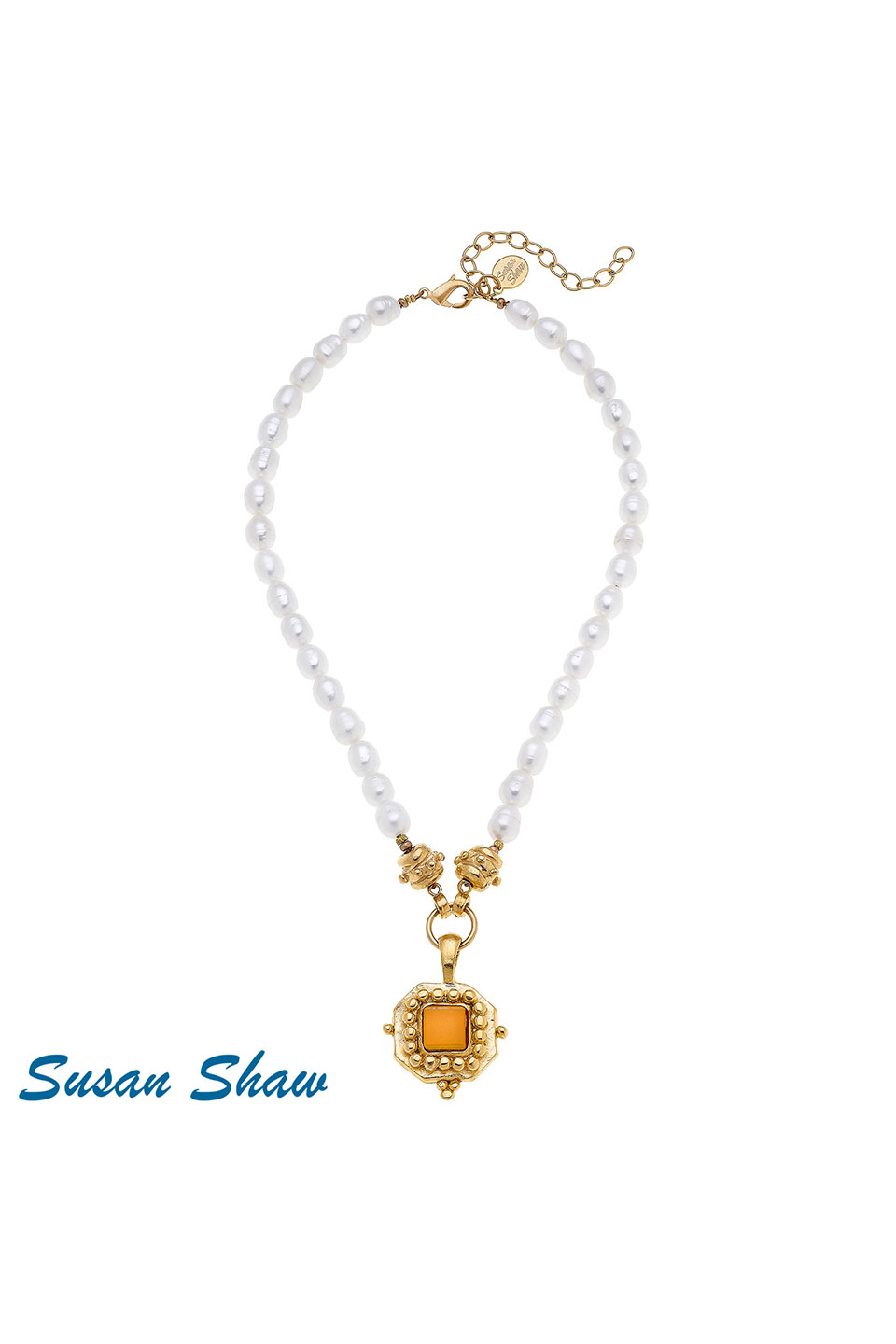 Susan Shaw Handcast Gold Square with Orange French Glass on Genuine Pearl Necklace