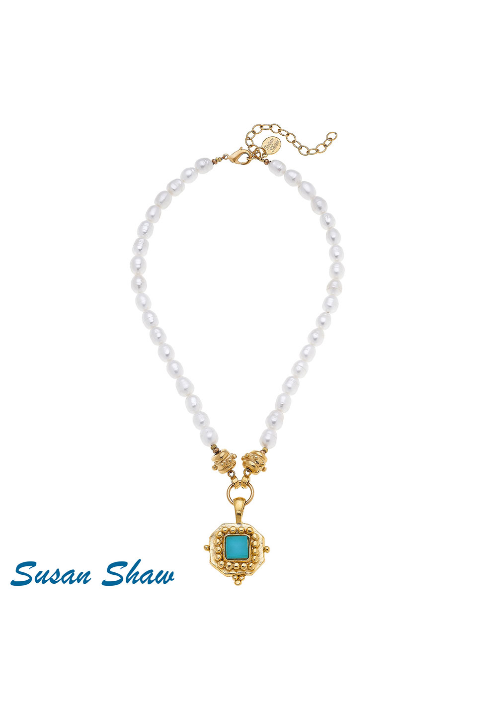 Susan Shaw Handcast Gold Square with Teal French Glass on Genuine Pearl Necklace