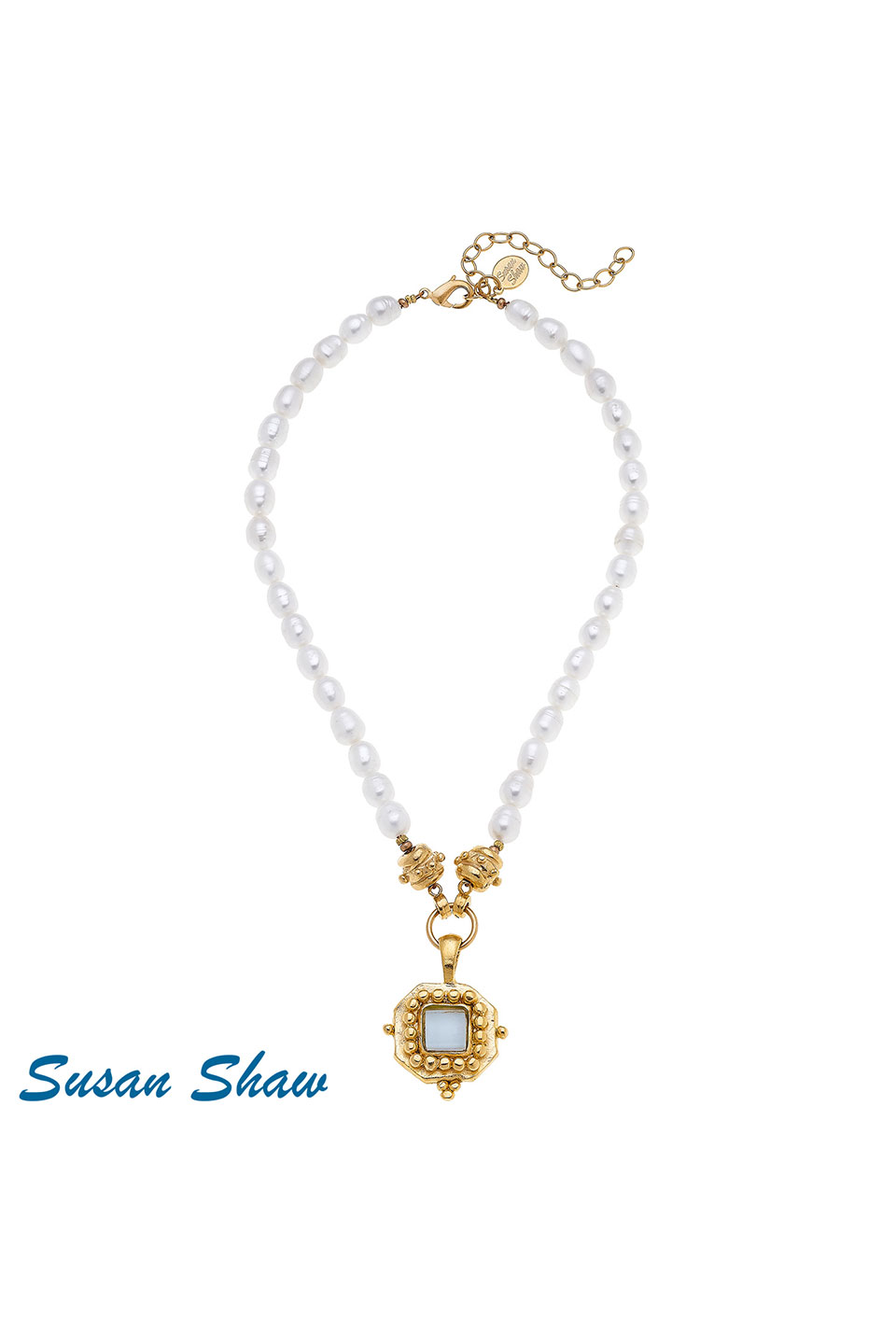 Susan Shaw Handcast Gold Square with White French Glass on Genuine Pearl Necklace