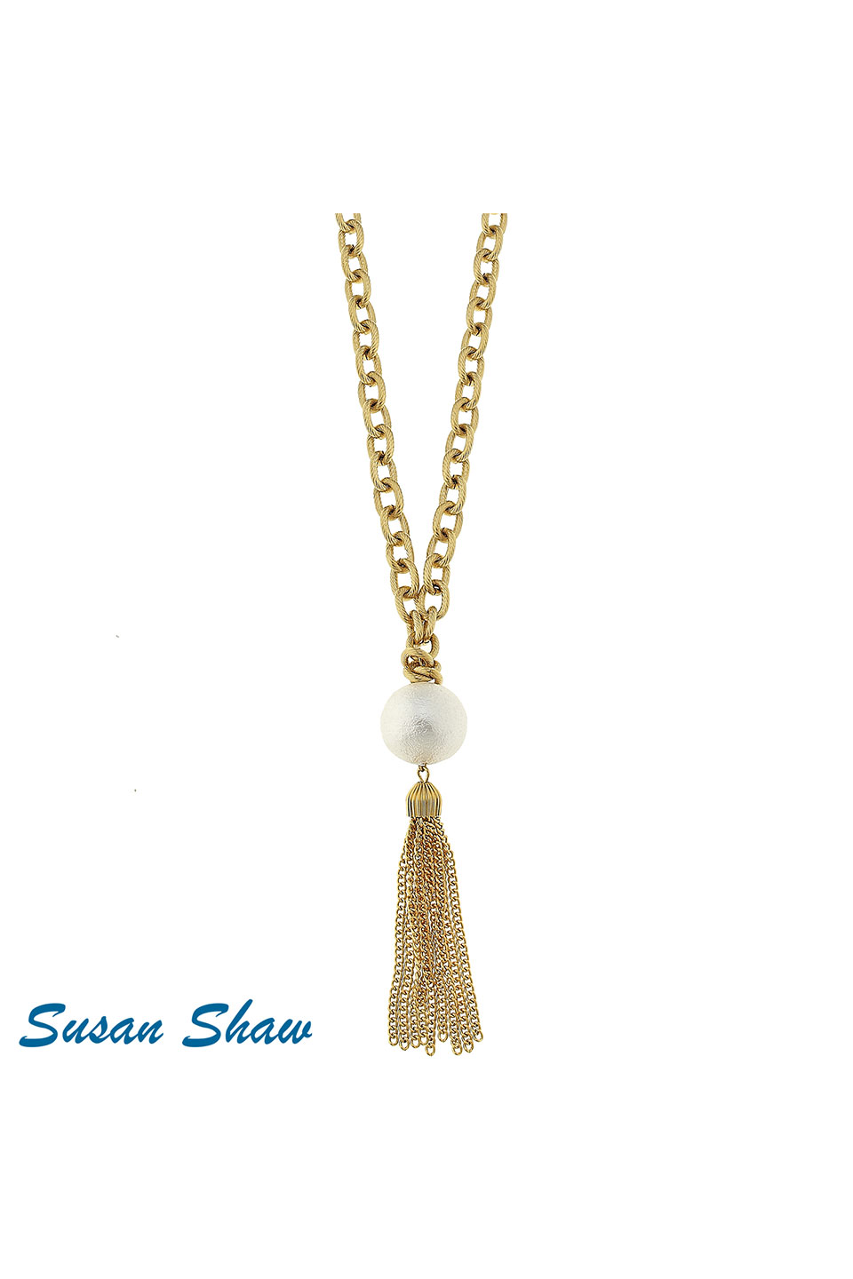 Susan Shaw Large Gold Chain with Pearl & Tassel Necklace
