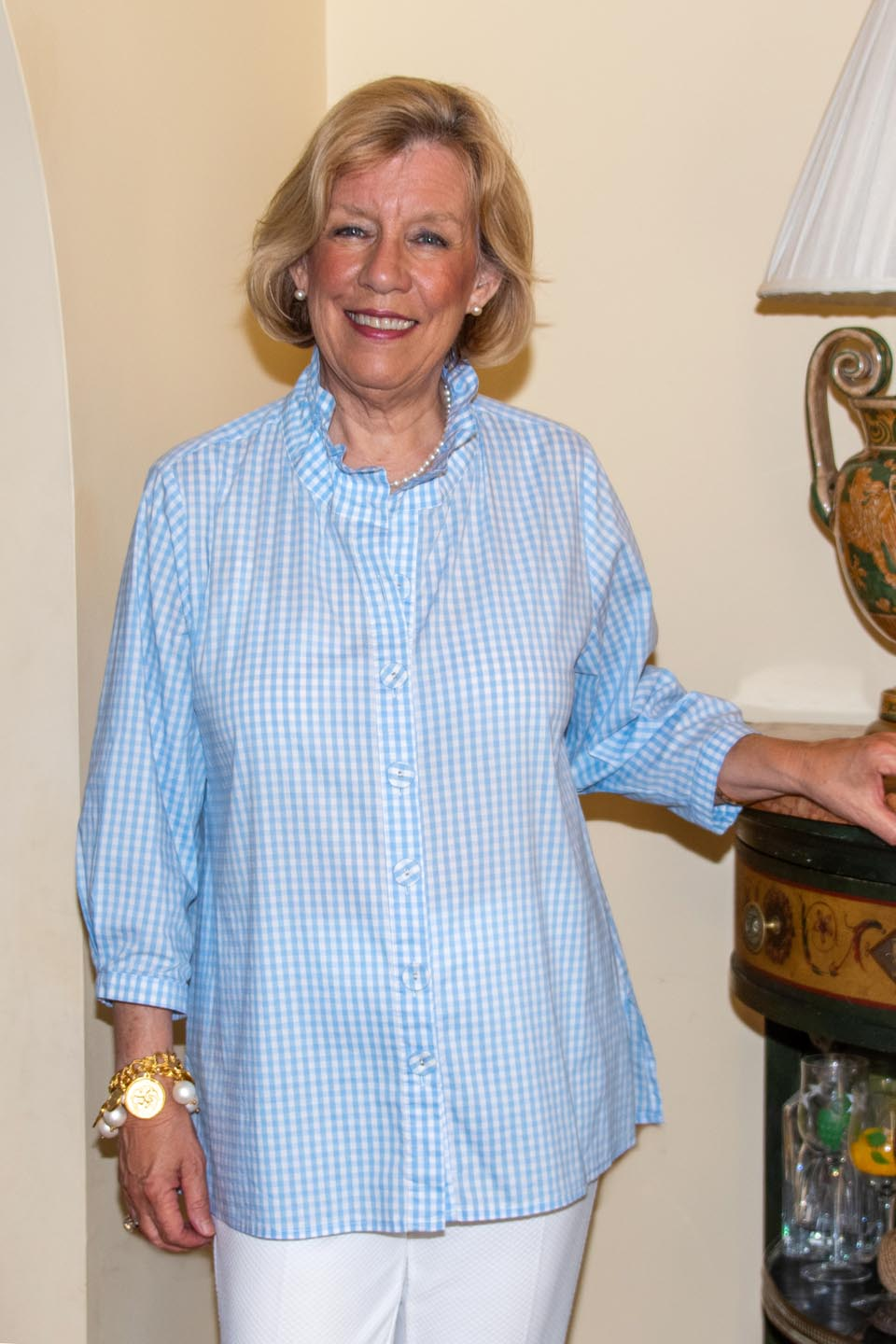 Beach House Blouse Baby Blue Check Front- Diane Bailey Designs