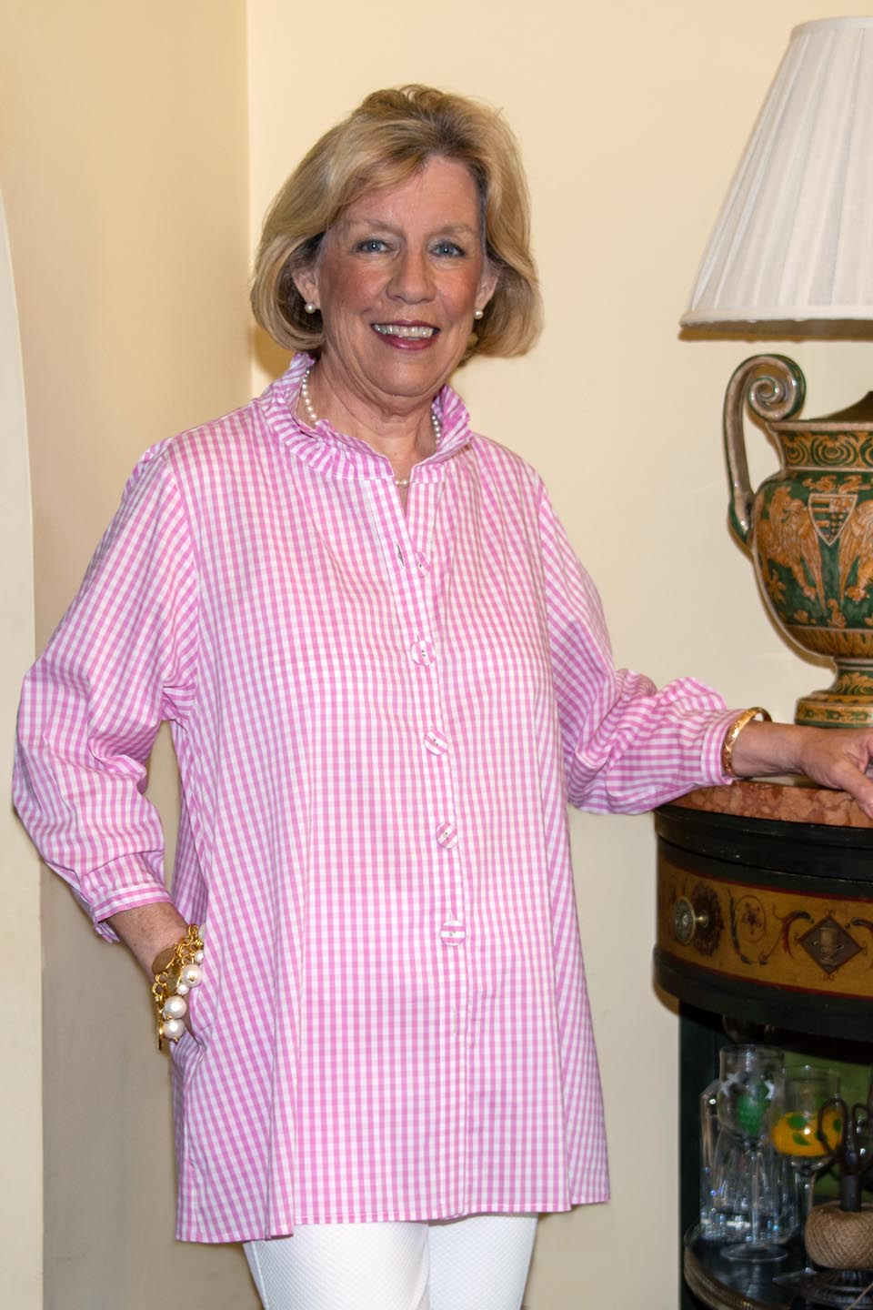 Beach House Blouse Baby Pink Check Back- Diane Bailey Designs