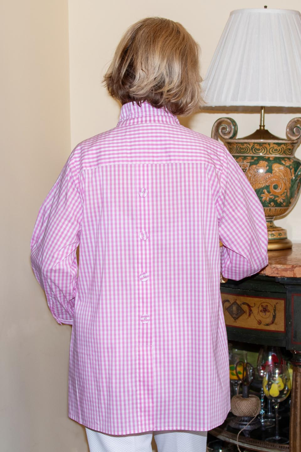 Beach House Blouse Baby Pink Check Front- Diane Bailey Designs