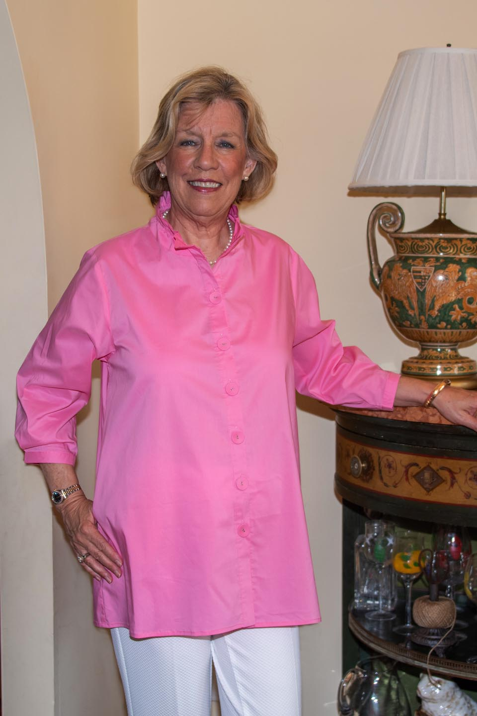 Beach House Blouse Candy Pink Front- Diane Bailey Designs