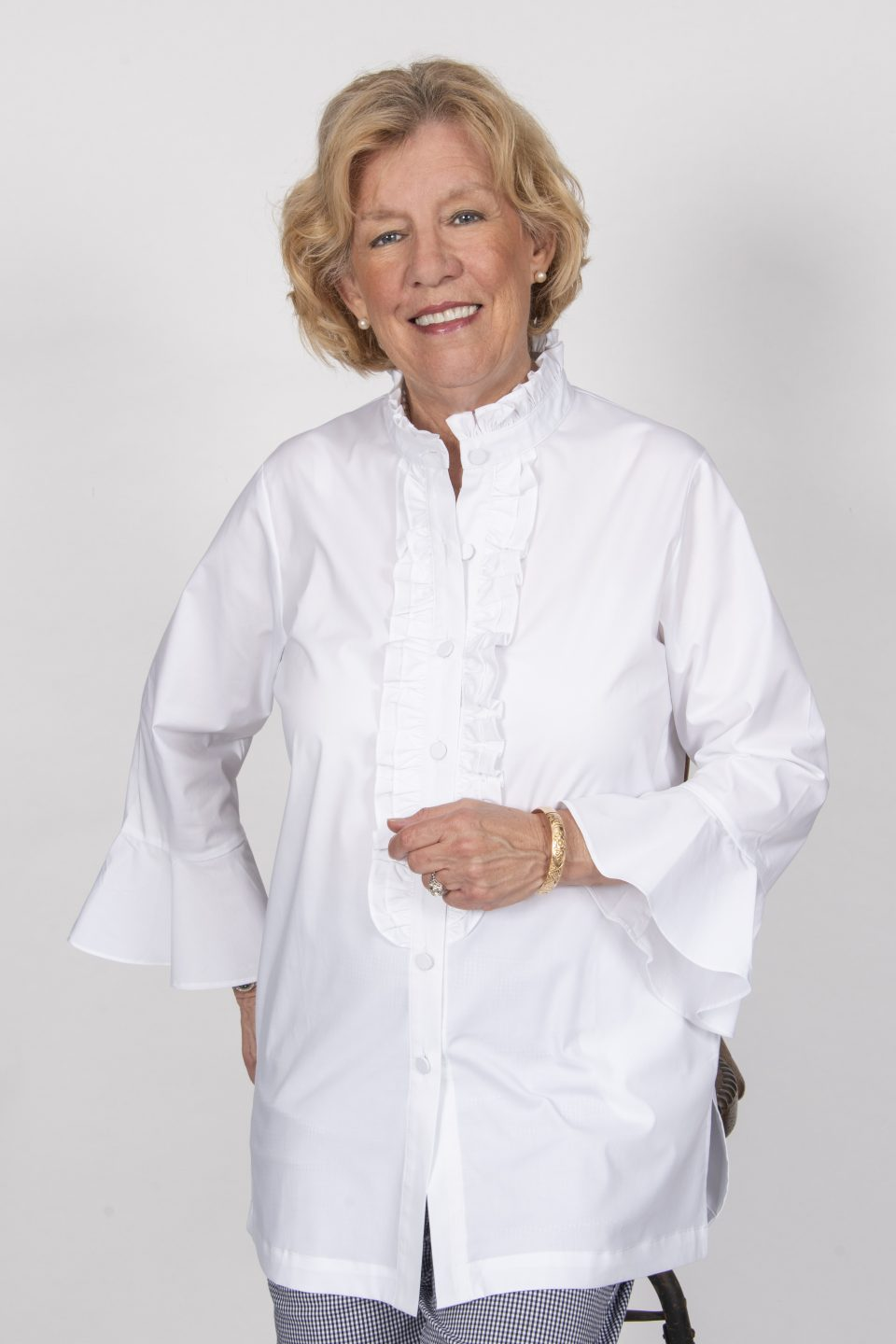 Double Front Ruffle Blouse White -Front- Diane Bailey Designs