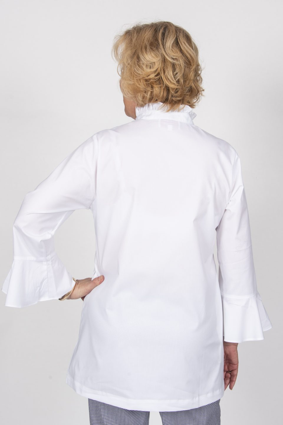 Double Front Ruffle Blouse White -Back- Diane Bailey Designs