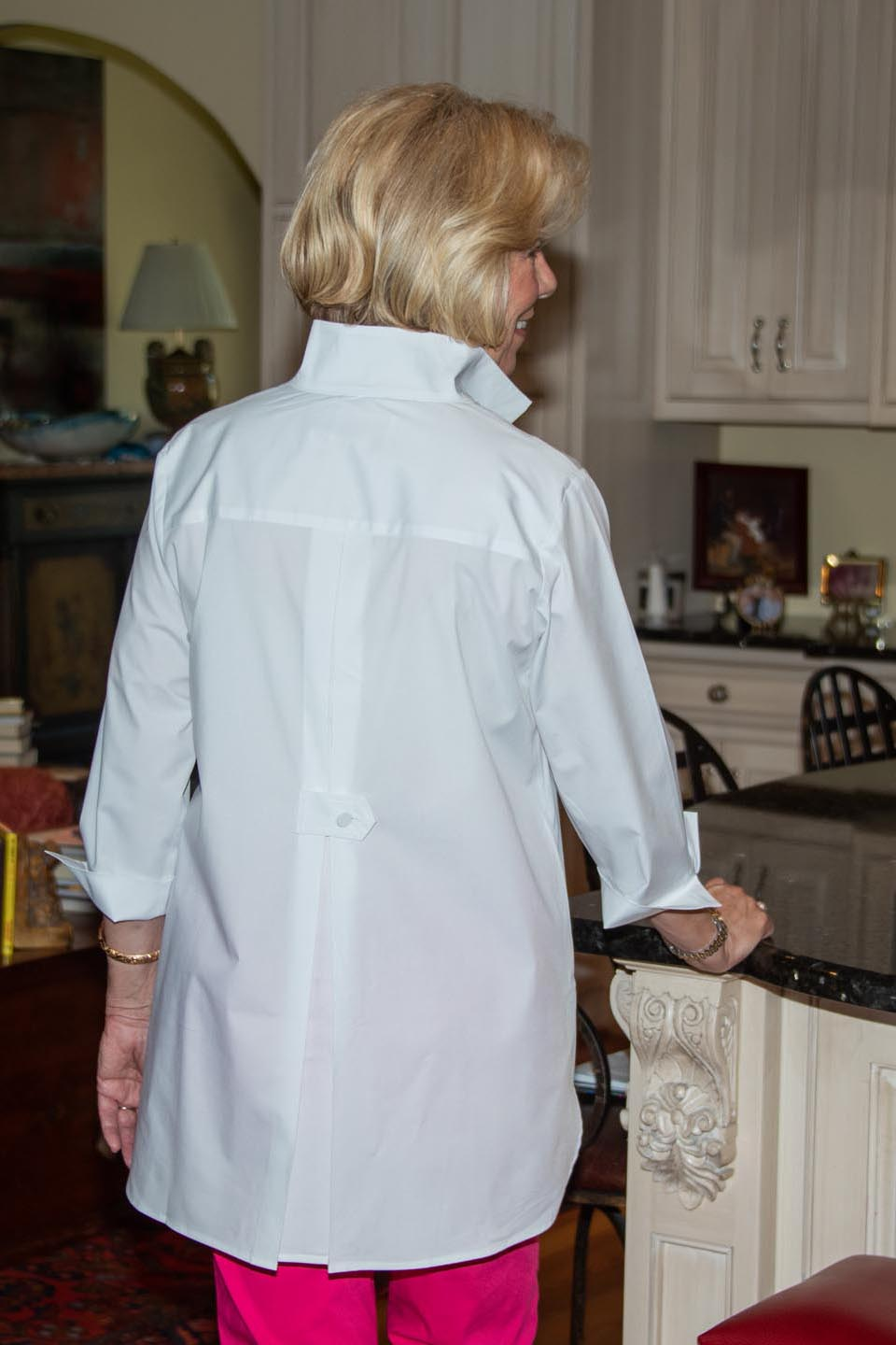 Pleated Back Button Tab Blouse White Back- Diane Bailey Designs