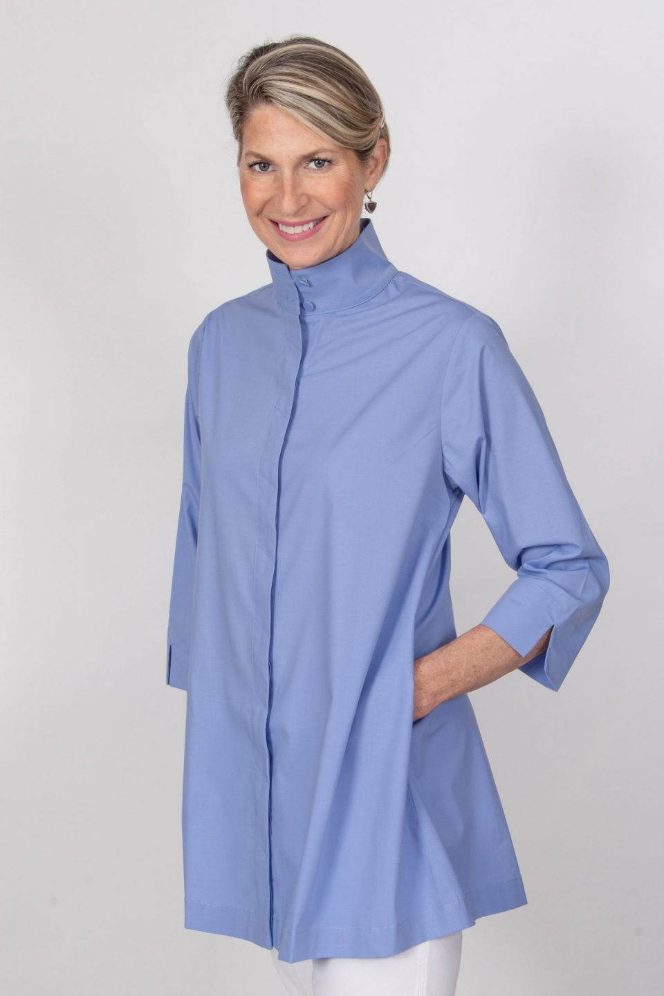 Zipper Back Tunic Top Periwinkle Front- Diane Bailey Designs