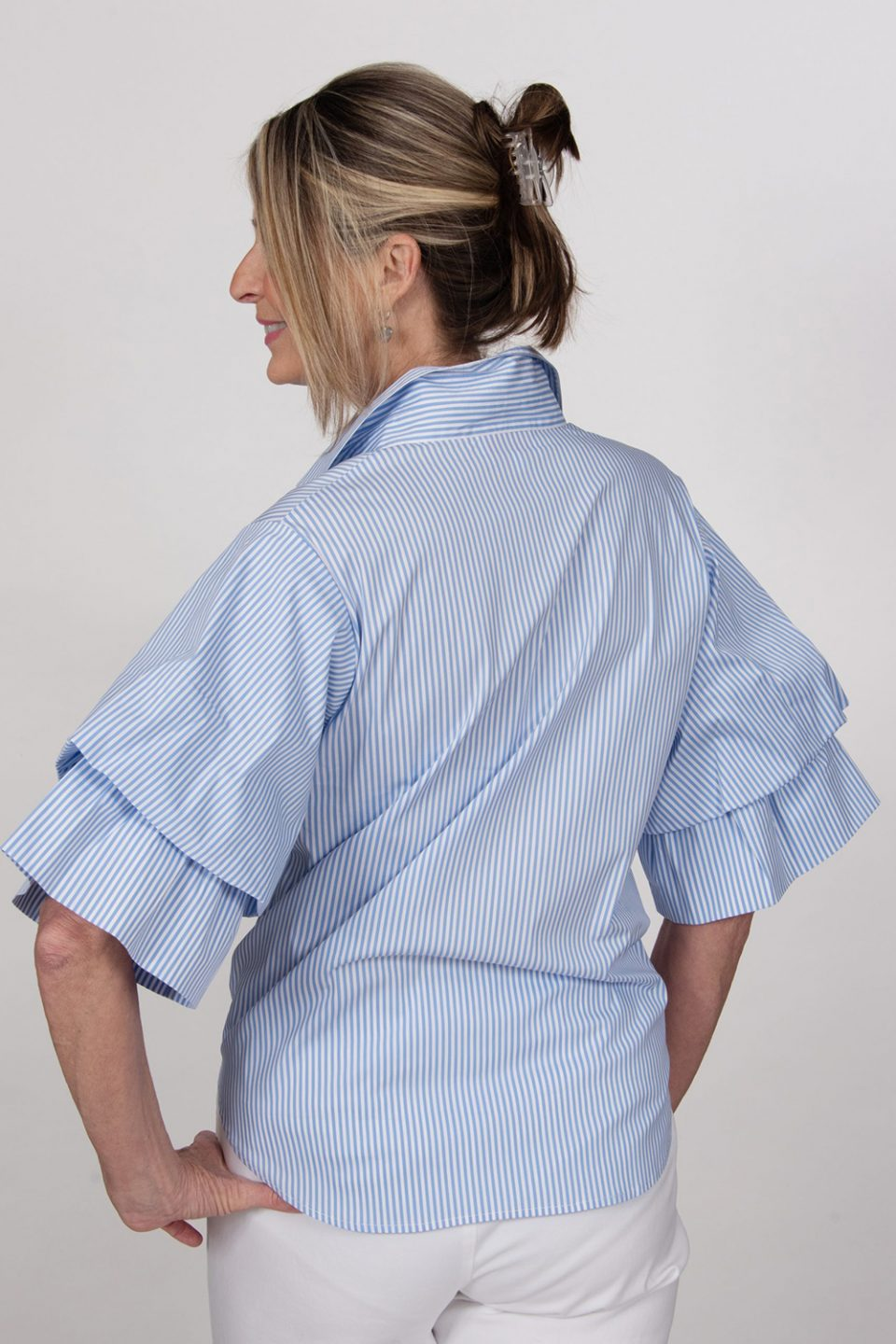 Tie Front Double Ruffle Sleeve Blouse Periwinkle Back- Diane Bailey Designs