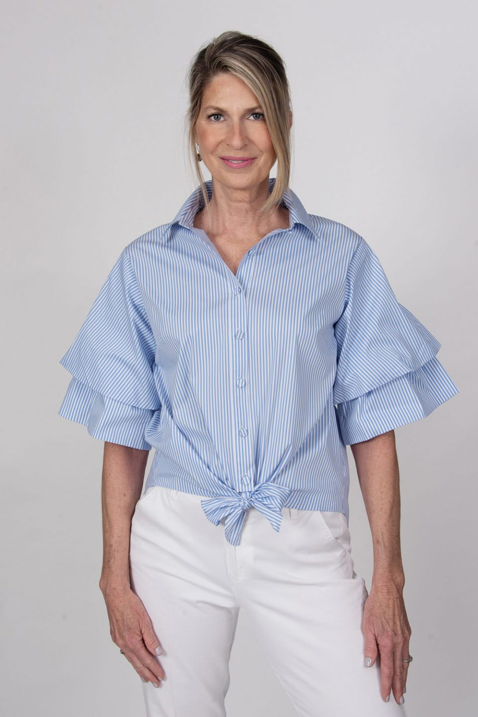 Tie Front Double Ruffle Sleeve Blouse Periwinkle Front- Diane Bailey Designs