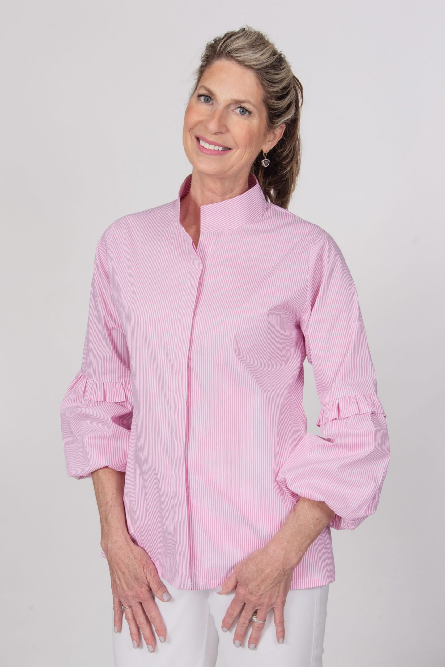 Puff Ruffle Sleeve Blouse Front Candy Stripe- Diane Bailey Designs