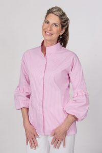 Stand Up Collar Shirt Puff Sleeves Front Candy Stripe- Diane Bailey Designs