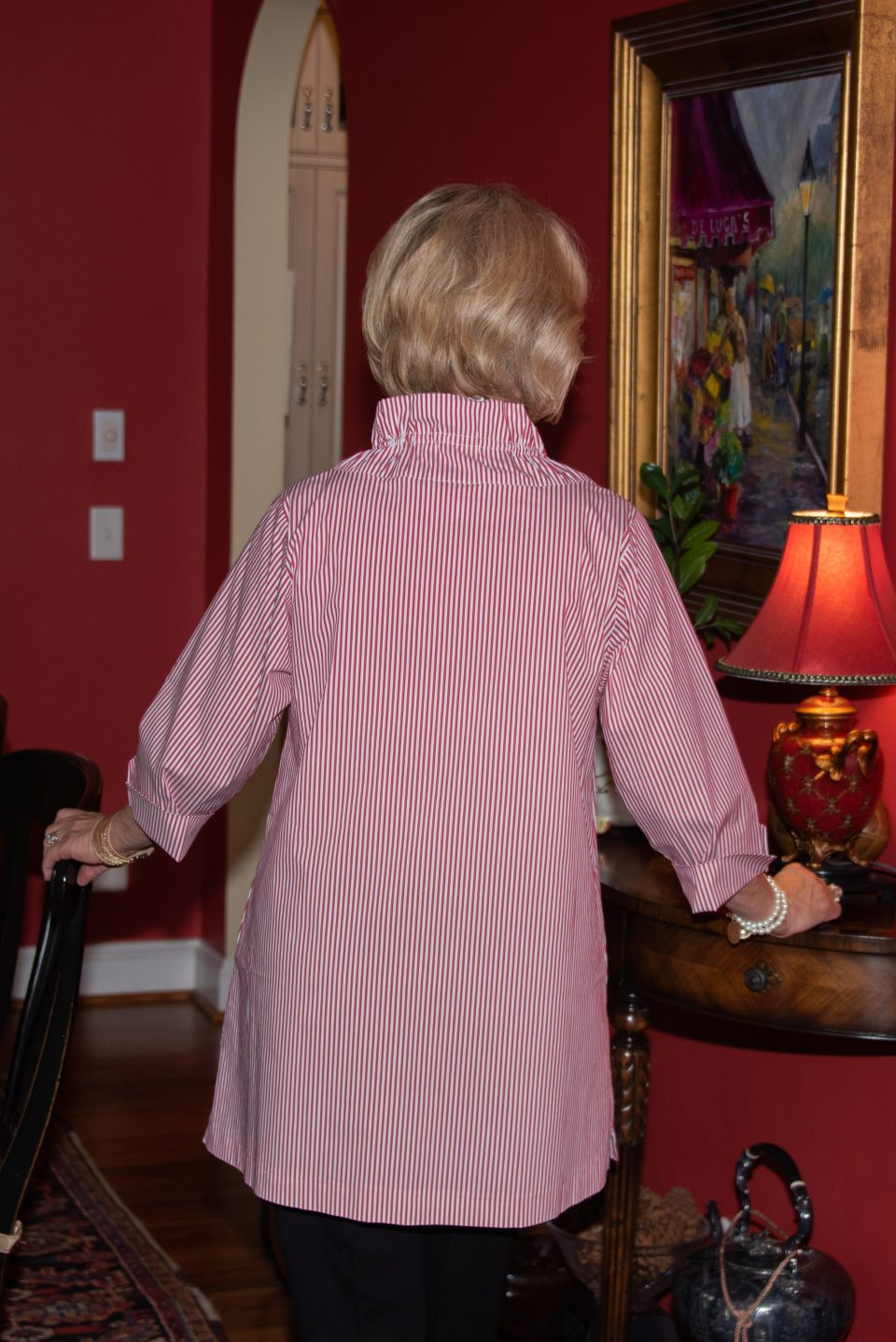 Aerial High Ruffle Neck Tunic Red Stripe Back- Diane Bailey Designs