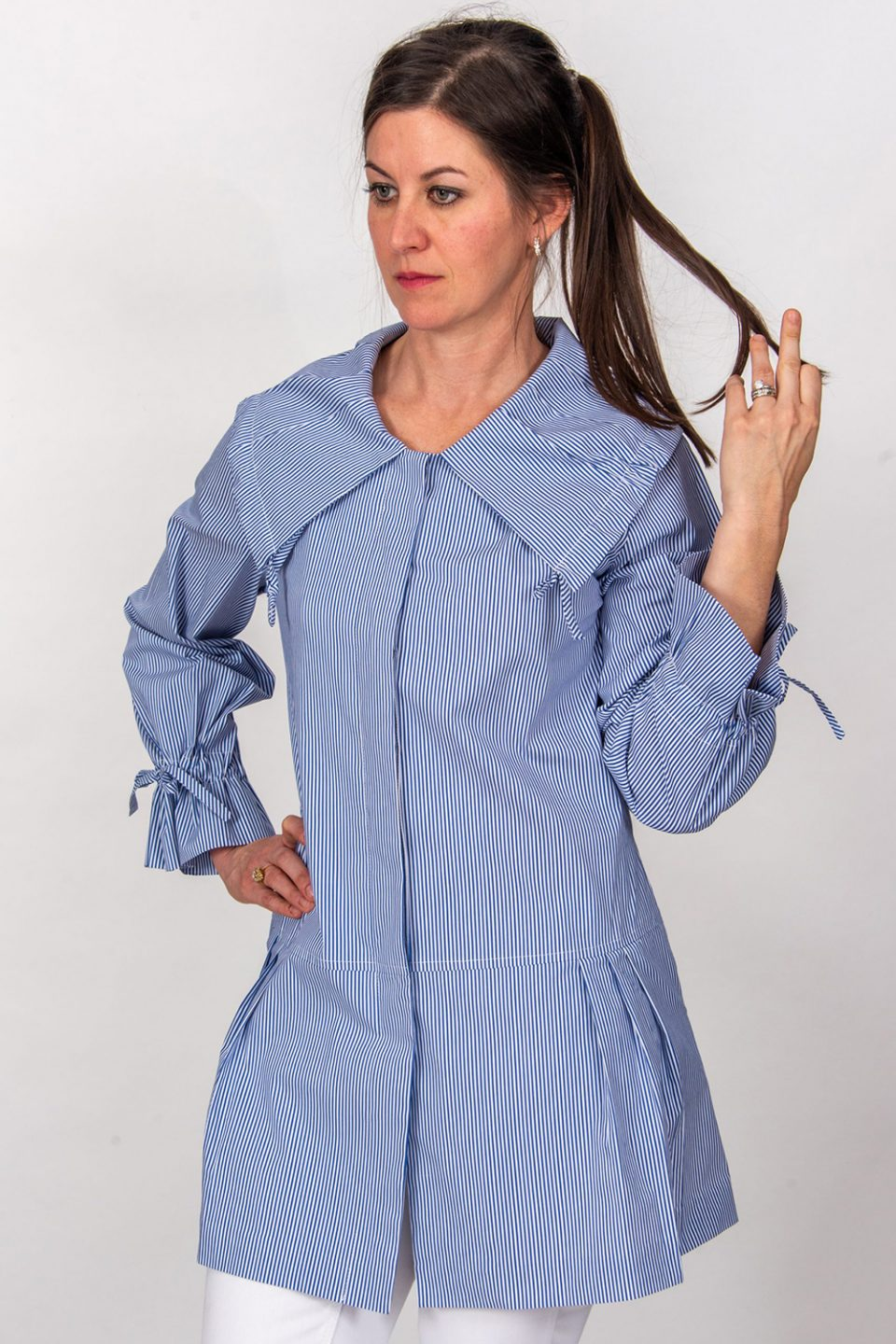 Ginny Pleated Collar Tunic Top Blue Stripe Front- Diane Bailey Designs