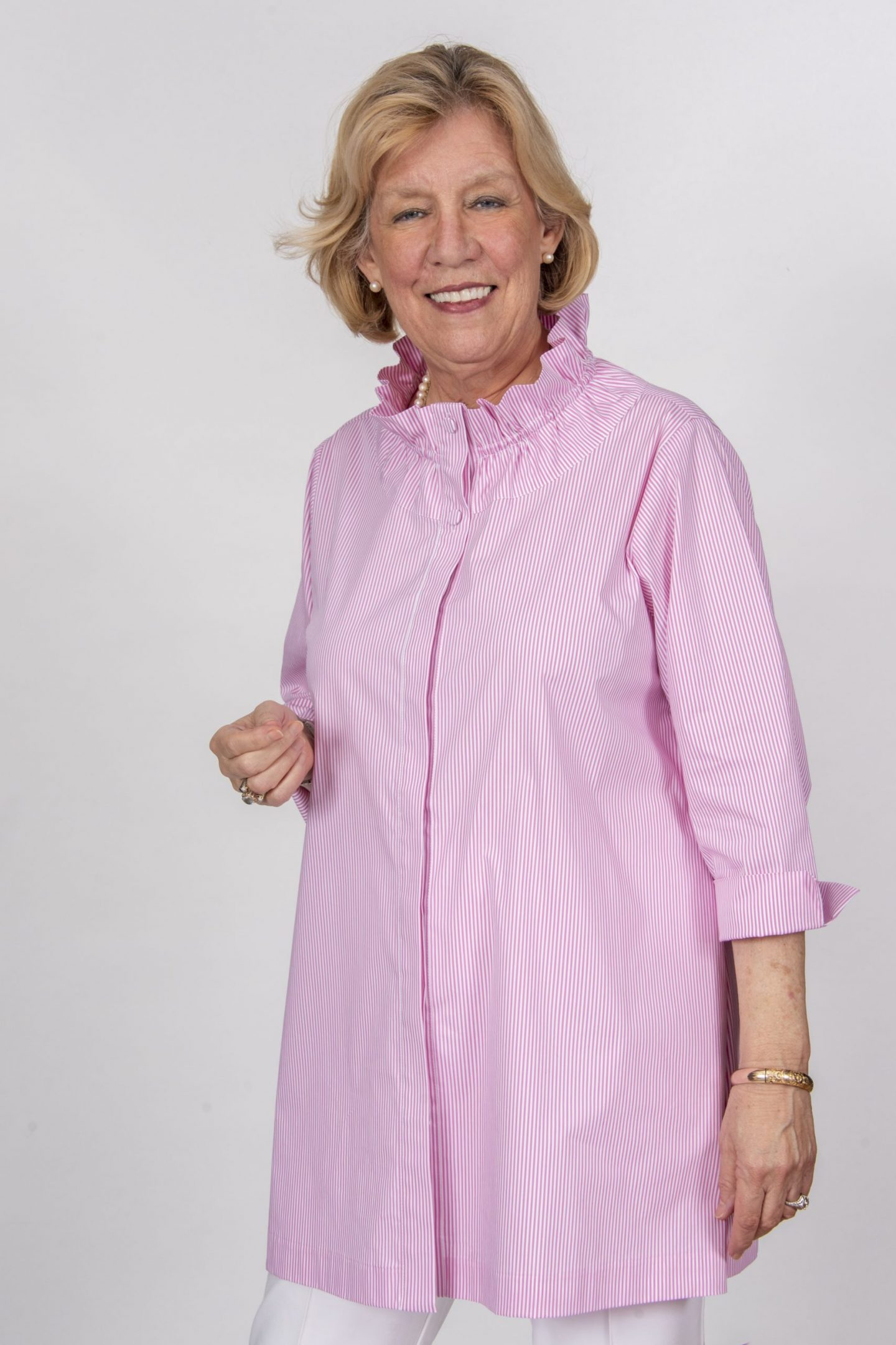 Aerial High Ruffle Neck Tunic Pink Stripe Front- Diane Bailey Designs