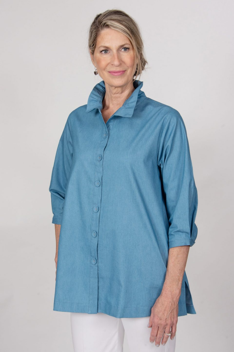 Beach House Blouse Chambray Front- Diane Bailey Designs