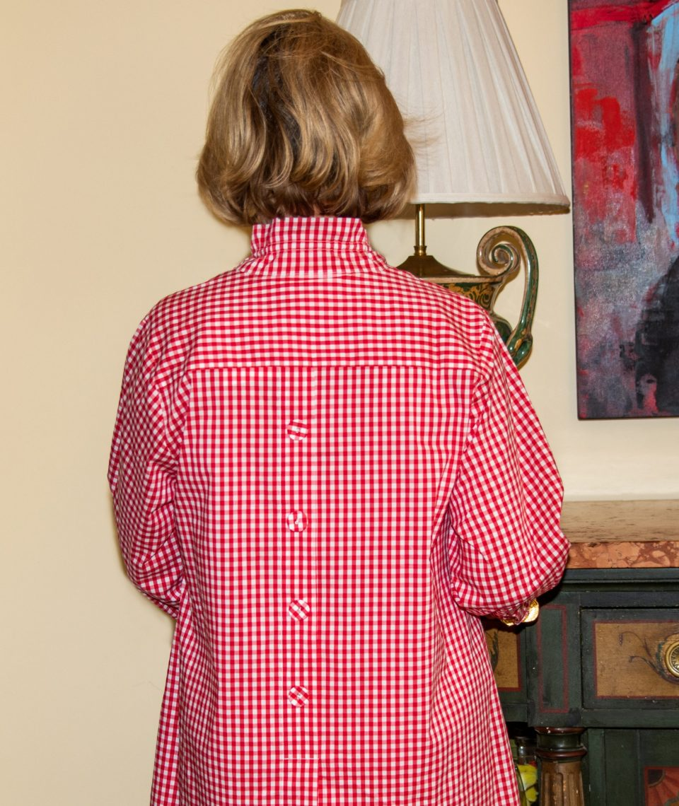 Beach House Blouse Red Check Back- Diane Bailey Designs