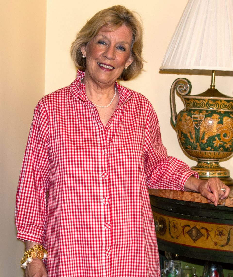 Beach House Blouse Red Check Front- Diane Bailey Designs