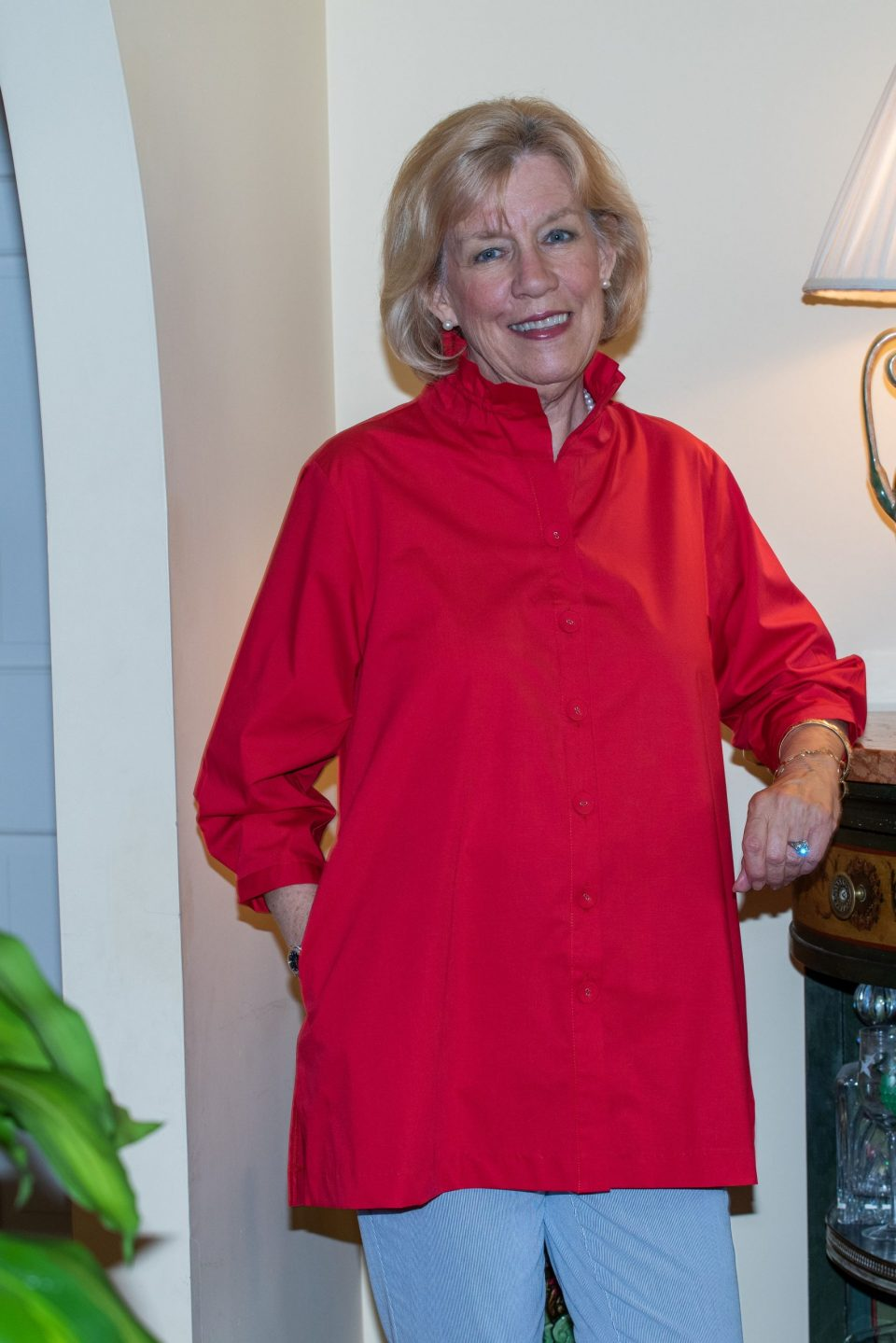 Beach House Blouse Red Front- Diane Bailey Designs