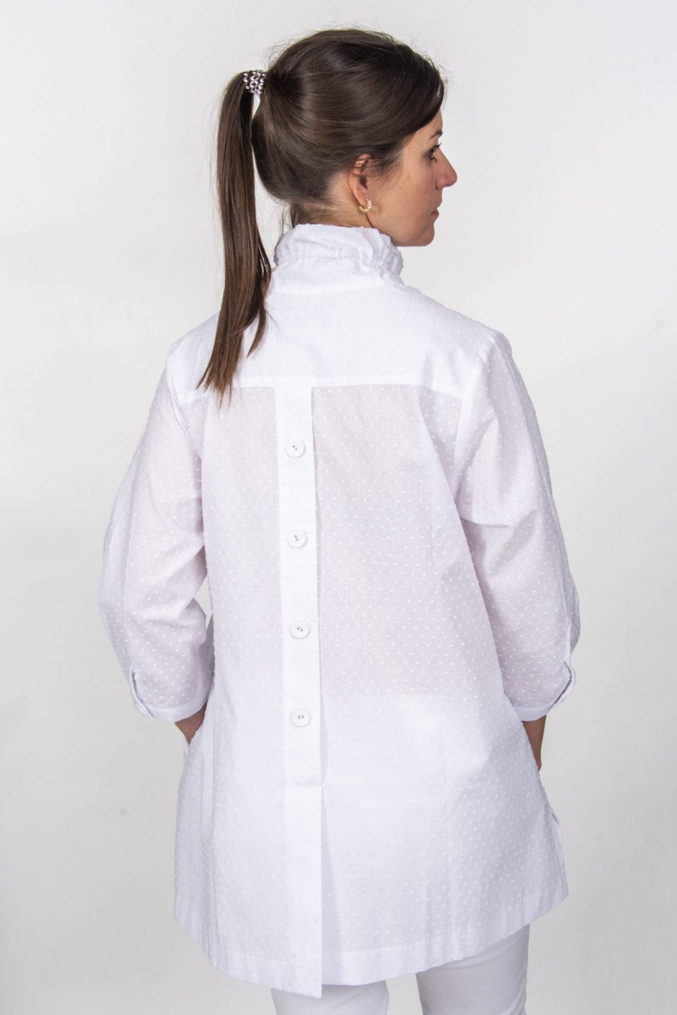 Beach House Blouse White Dotted Swiss Back- Diane Bailey Designs