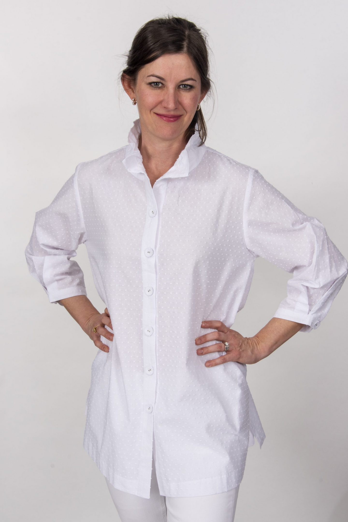 Beach House Blouse White Dotted Swiss Front- Diane Bailey Designs