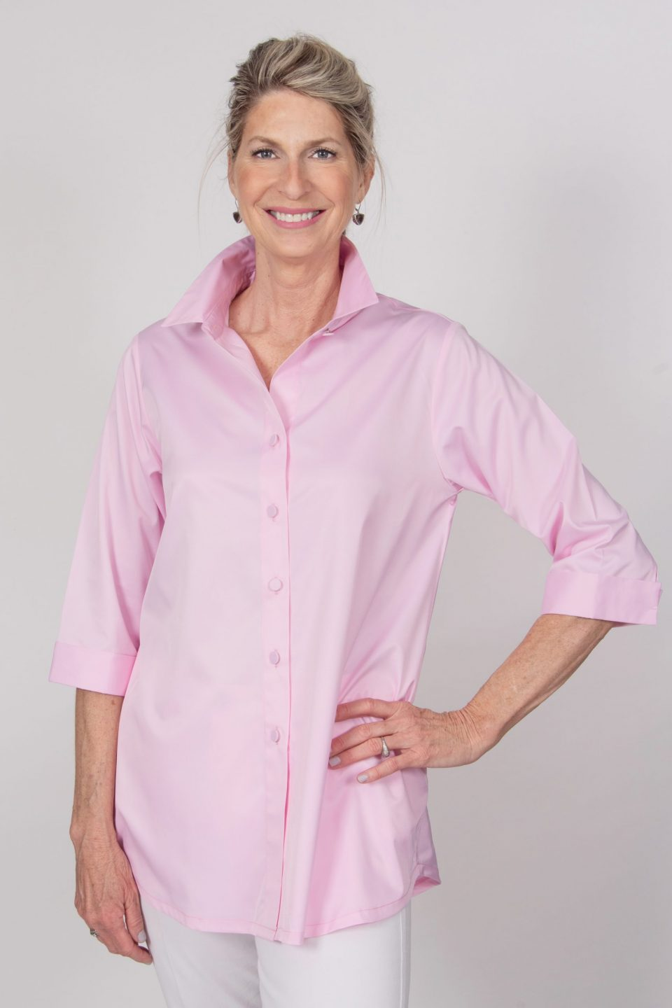 Beth 3-4 Sleeve Blouse Pink Front- Diane Bailey Designs