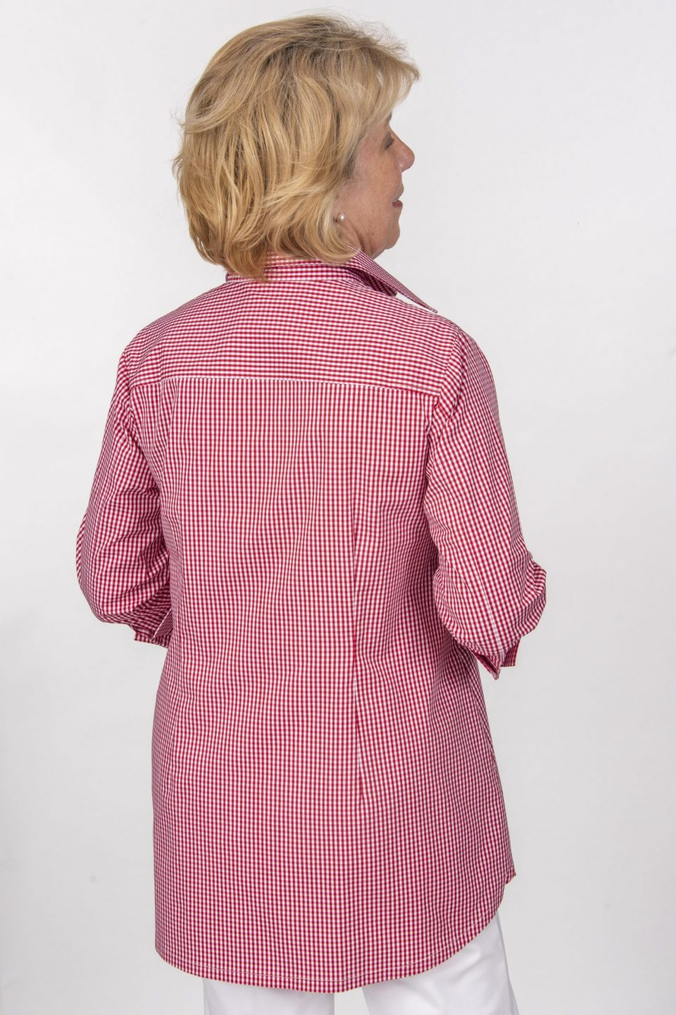 Beth 3-4 Sleeve Blouse Red Check Back- Diane Bailey Designs