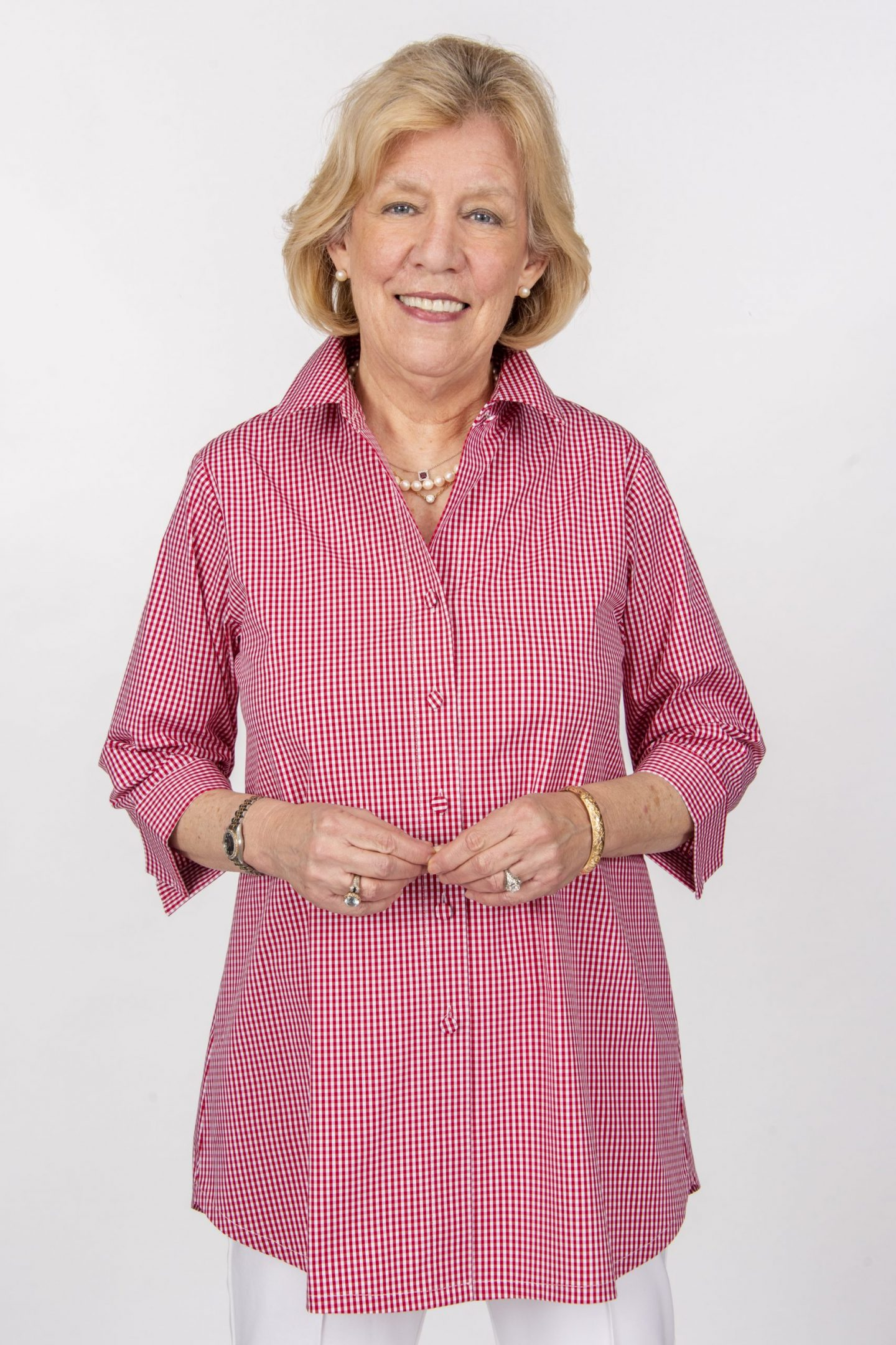 Beth 3-4 Sleeve Blouse Covered Buttons Red Check Front- Diane Bailey Designs