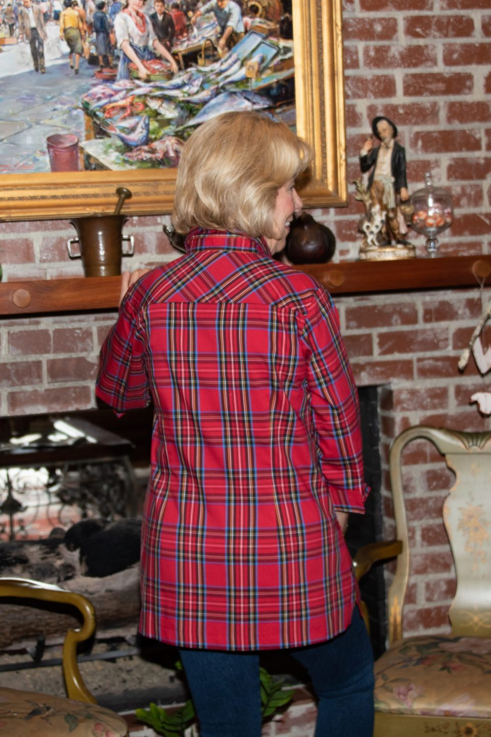 Beth 3-4 Sleeve Blouse Red Plaid Back- Diane Bailey Designs