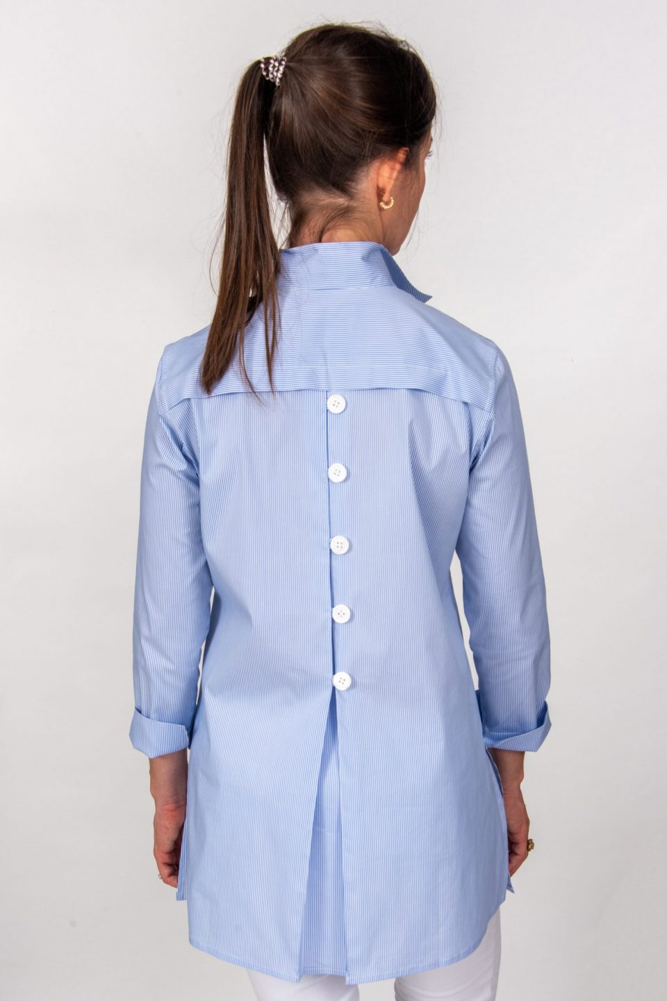 Eve 3/4 Sleeve Tunic, Back Buttons Tiny Blue Stripe Back- Diane Bailey Designs