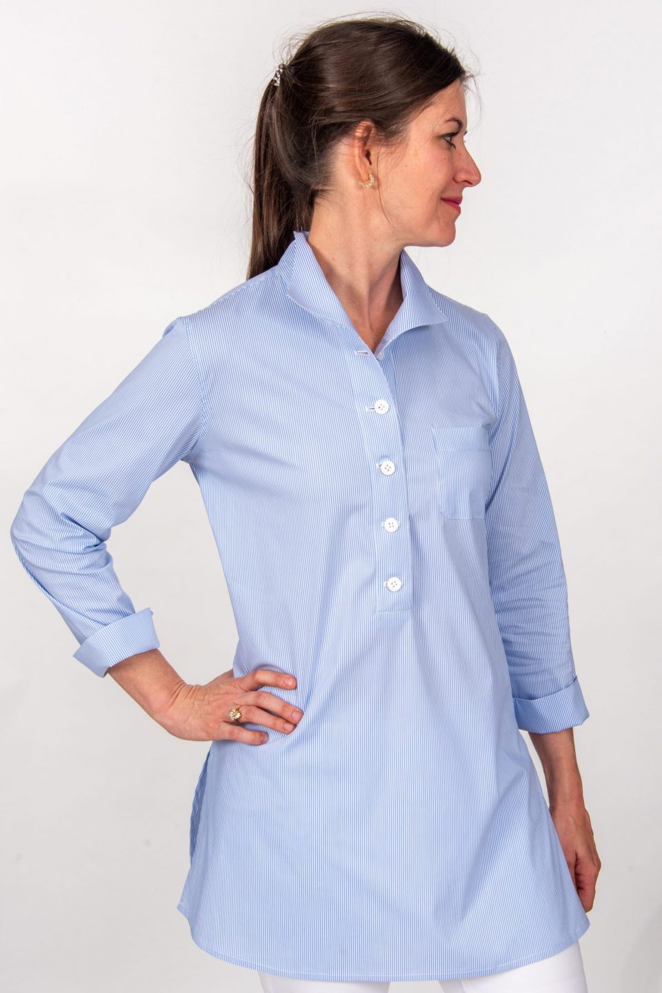 Eve 3/4 Sleeve Tunic, Back Buttons Tiny Blue Front-1- Diane Bailey Designs