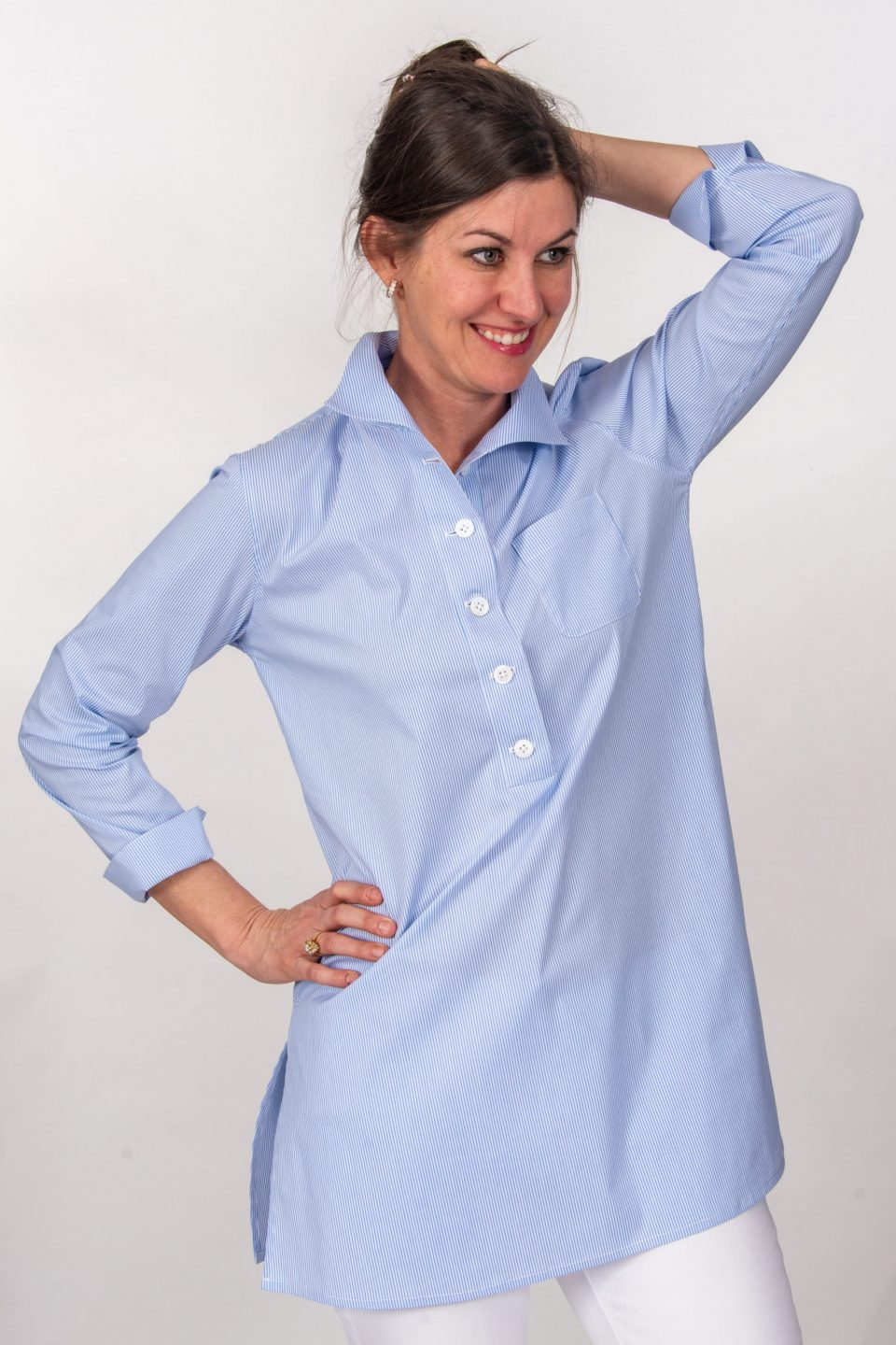 Eve 3/4 Sleeve Tunic, Back Buttons Tiny Blue Stripe Front-2- Diane Bailey Designs