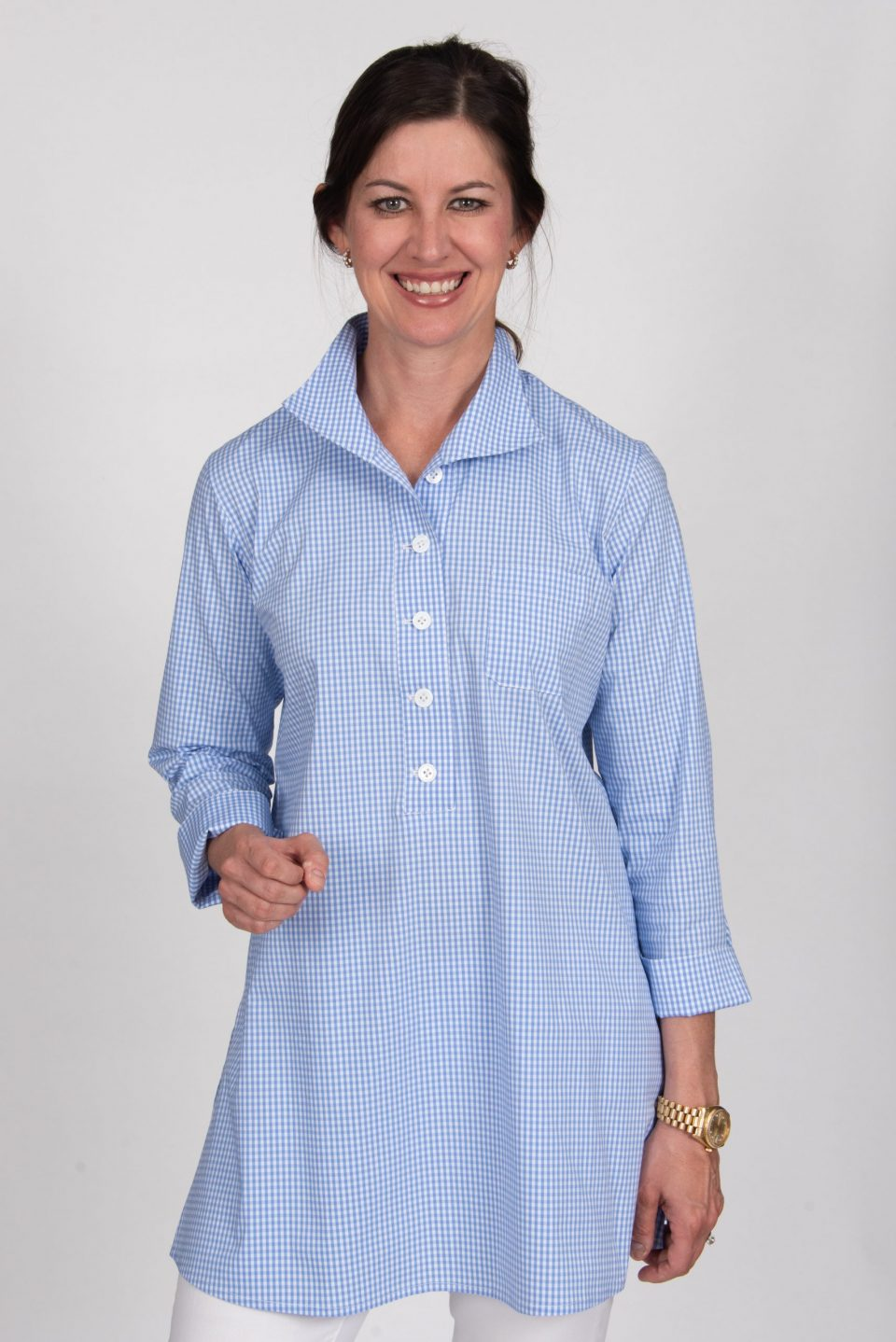 Eve 3/4 Sleeve Tunic, Back Buttons Tiny Blue Check Front- Diane Bailey Designs