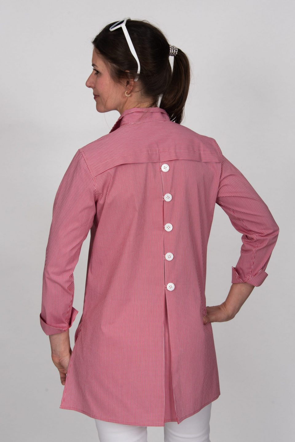 Eve 3/4 Sleeve Tunic, Back Buttons Tiny Red Check Back- Diane Bailey Designs