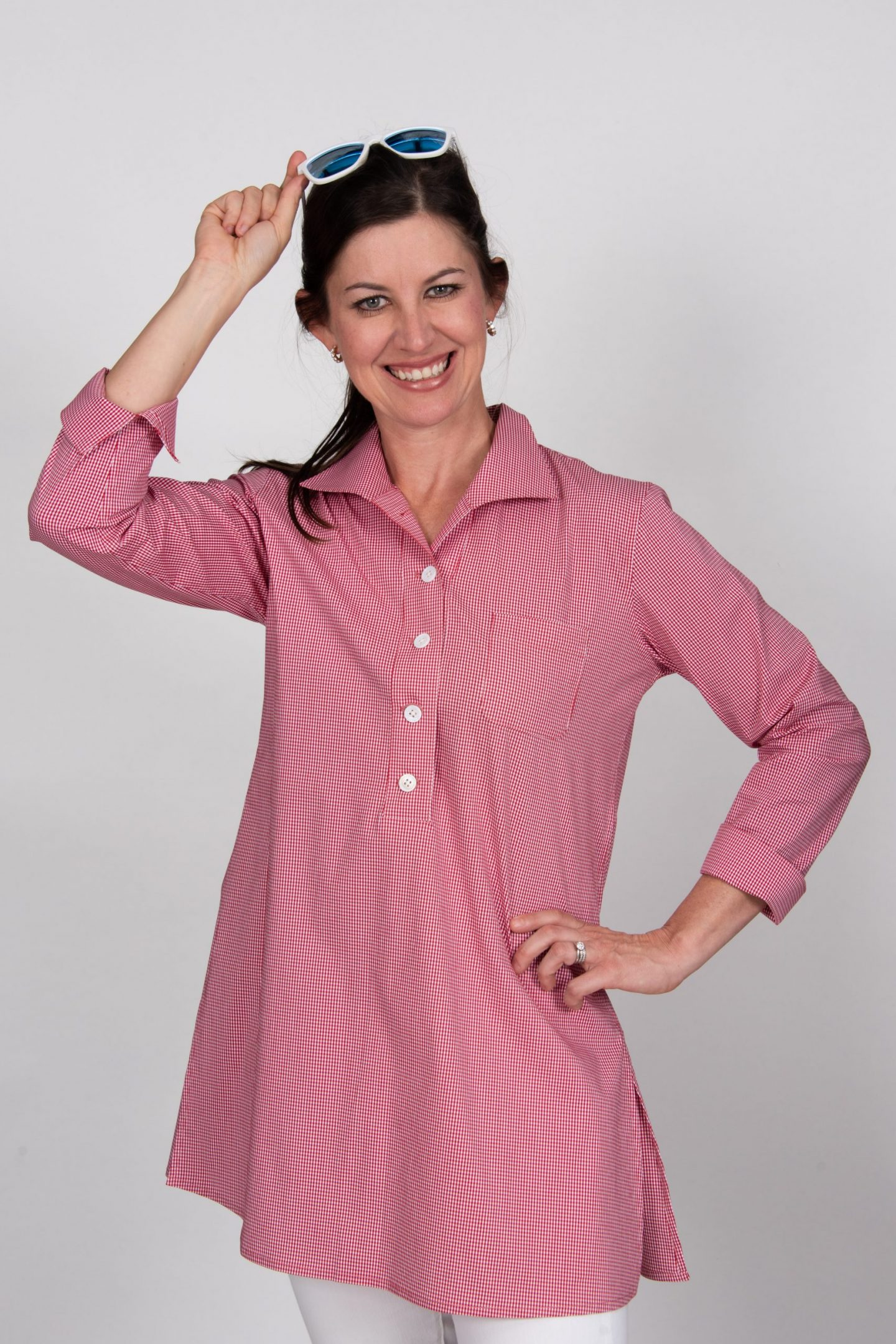 Eve 3/4 Sleeve Tunic, Back Buttons Tiny Red Check Front- Diane Bailey Designs