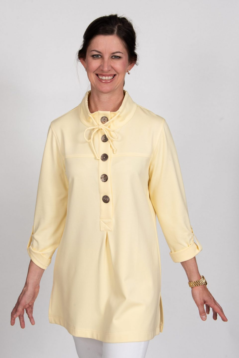 Five Button Drawstring Neck Knit Tunic Yellow Front- Diane Bailey Designs