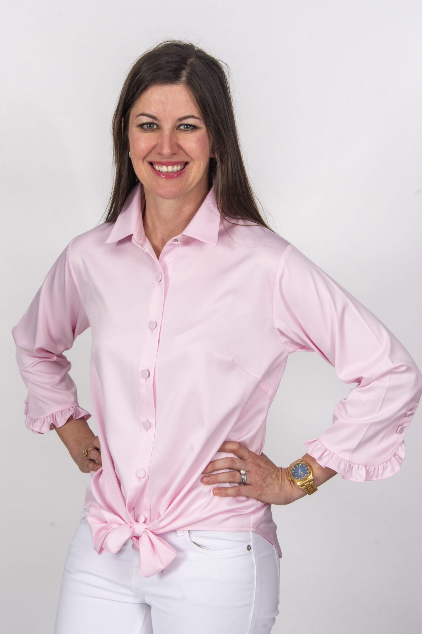 Liza Tie Front 3-4 Sleeve Blouse Pink- Diane Bailey Designs