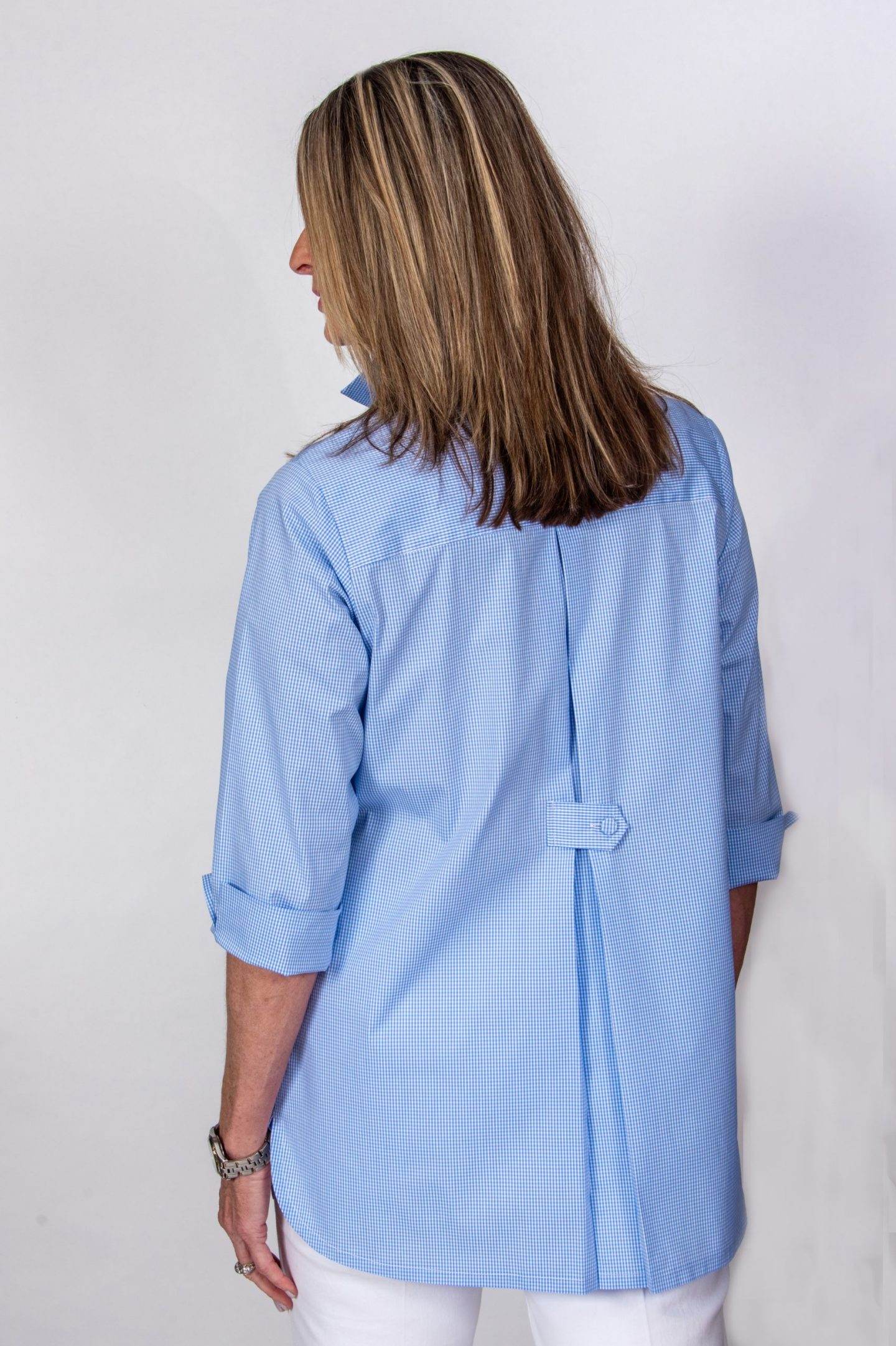 Pleated Back Button Tab Blouse Blue White Check Back- Diane Bailey Designs