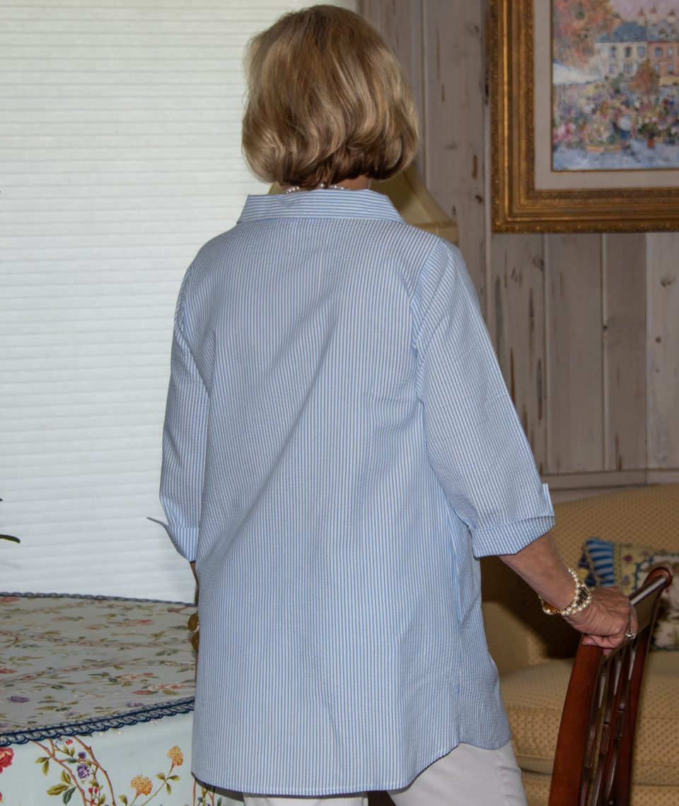 Side Button 3-4 Sleeve Blouse - Diane Bailey Designs