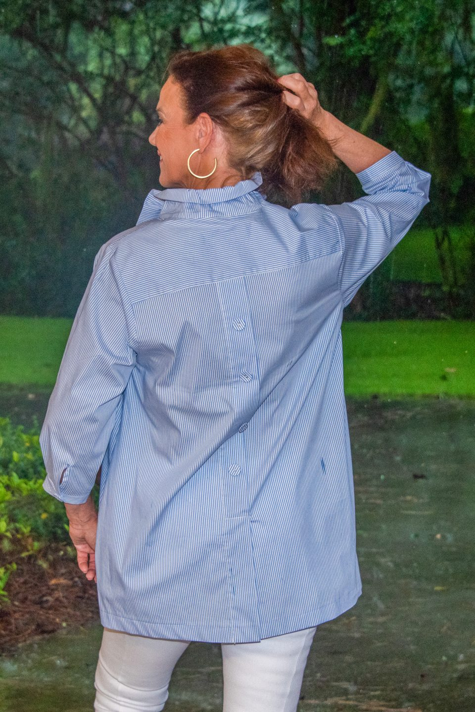 Beach House Blouse Blue and White Striped Back- Diane Bailey Designs