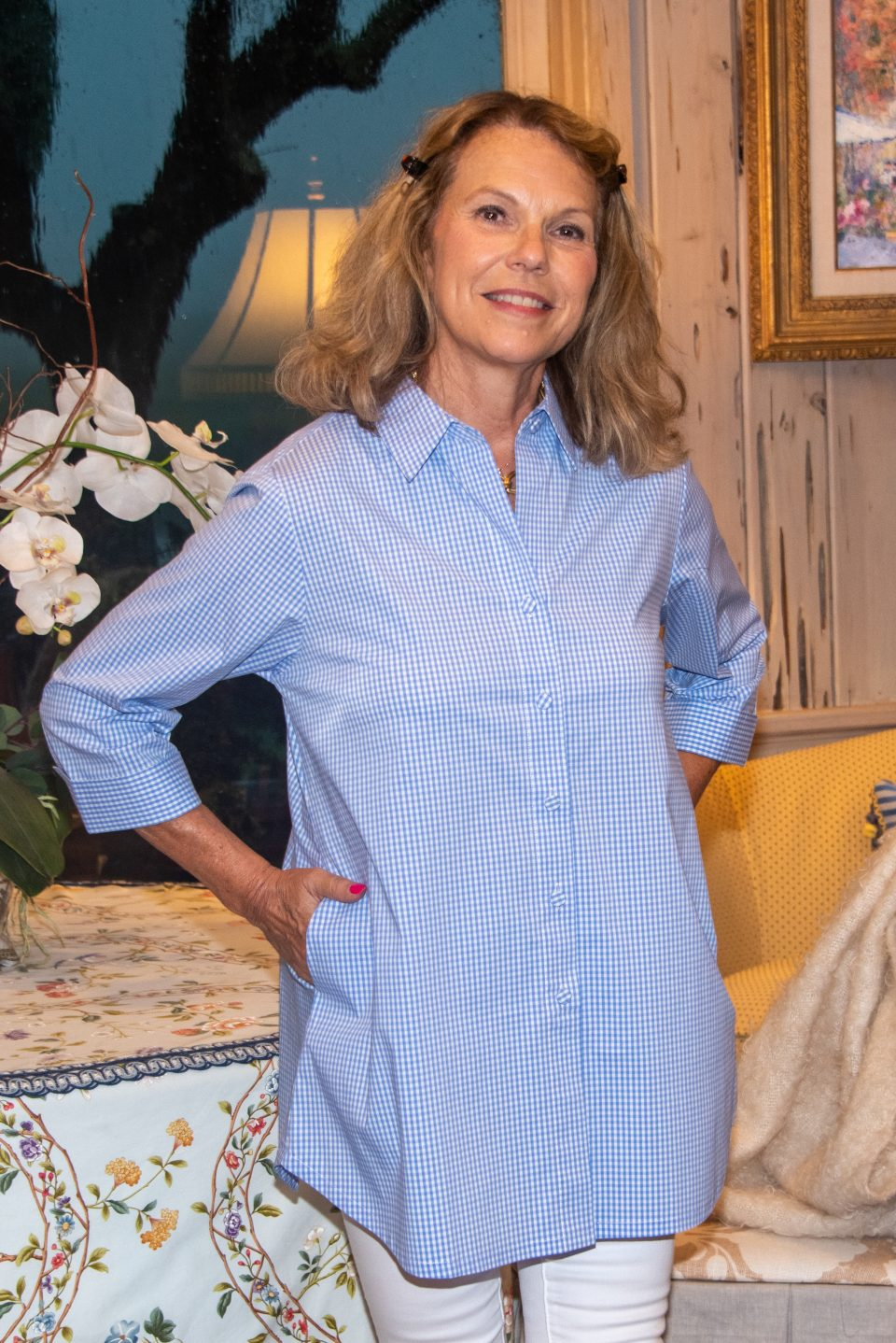 Beth 3-4 Sleeve Blouse Sm Blue Check- Front- Diane Bailey Designs