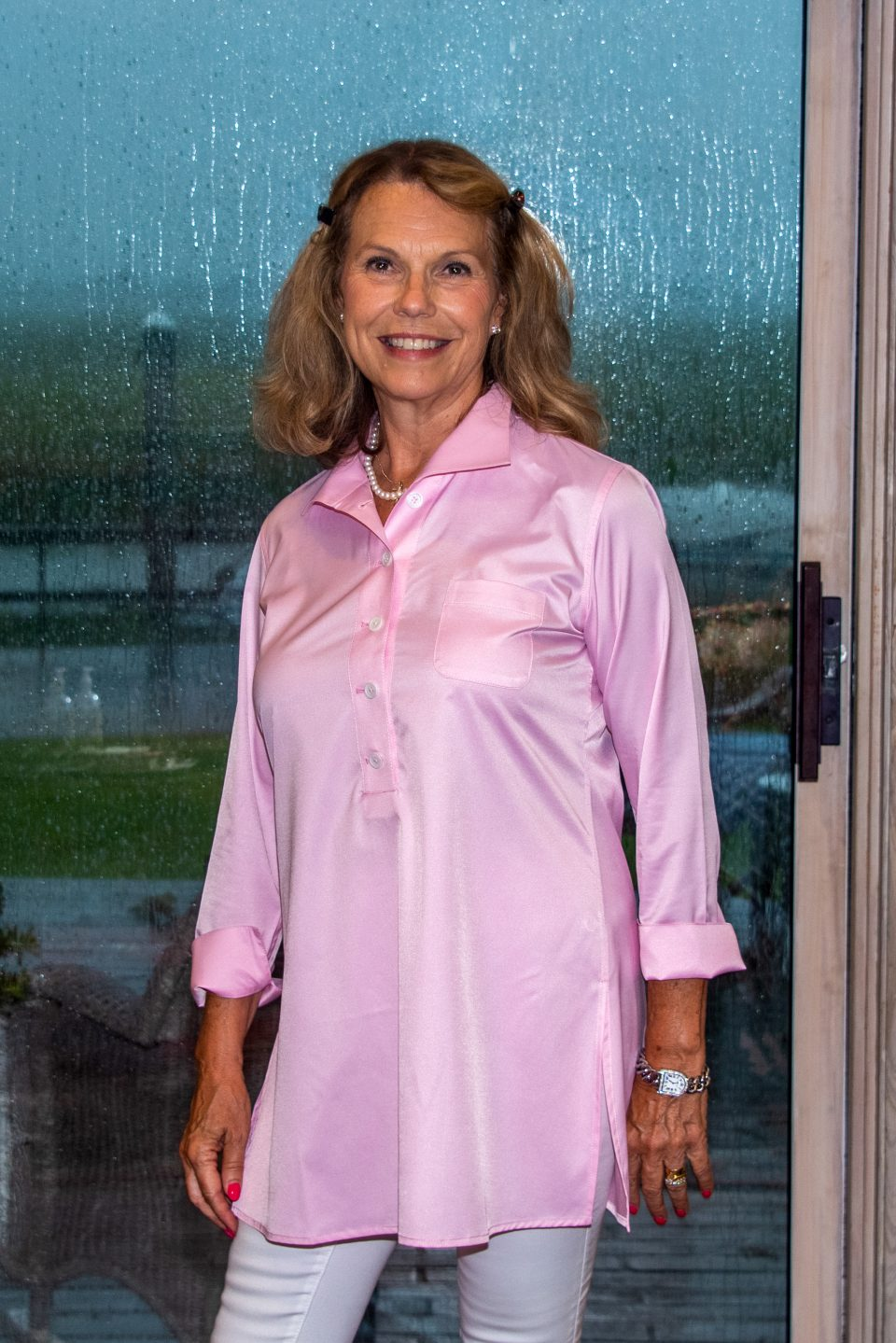 Eve 3/4 Sleeve Tunic, Back Buttons Light Pink Polished Cotton- Front- Diane Bailey Designs