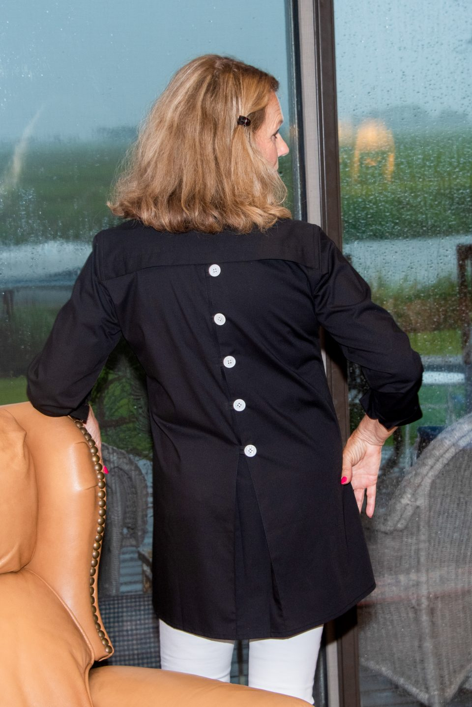 Eve 3/4 Sleeve Tunic, Back Buttons Midnight Black -Back- Diane Bailey Designs