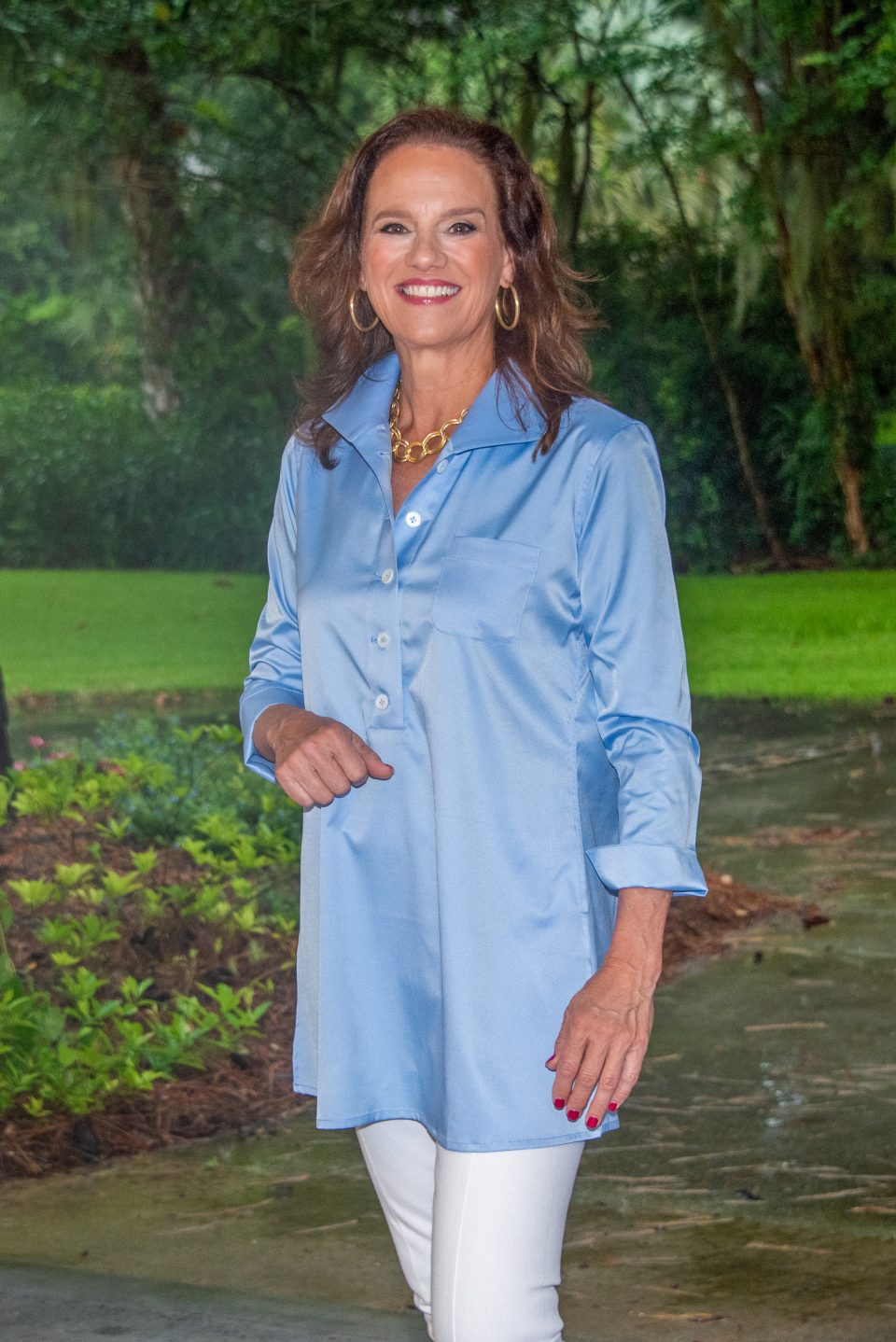 Eve 3/4 Sleeve Tunic, Back Buttons Sky Blue Front-3- Diane Bailey Designs